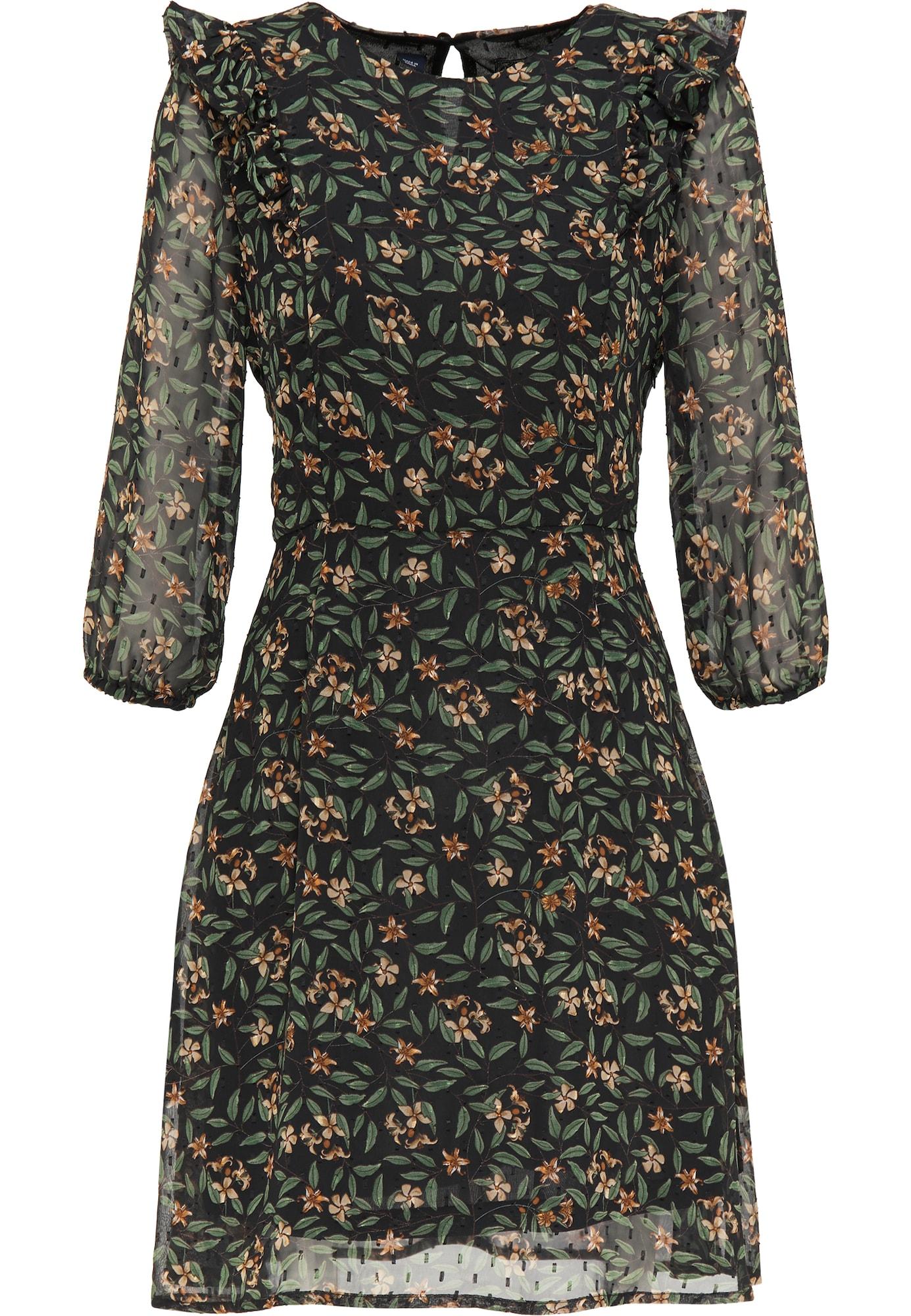 DreiMaster Vintage Palaidinės tipo suknelė juoda / žalia / oranžinė