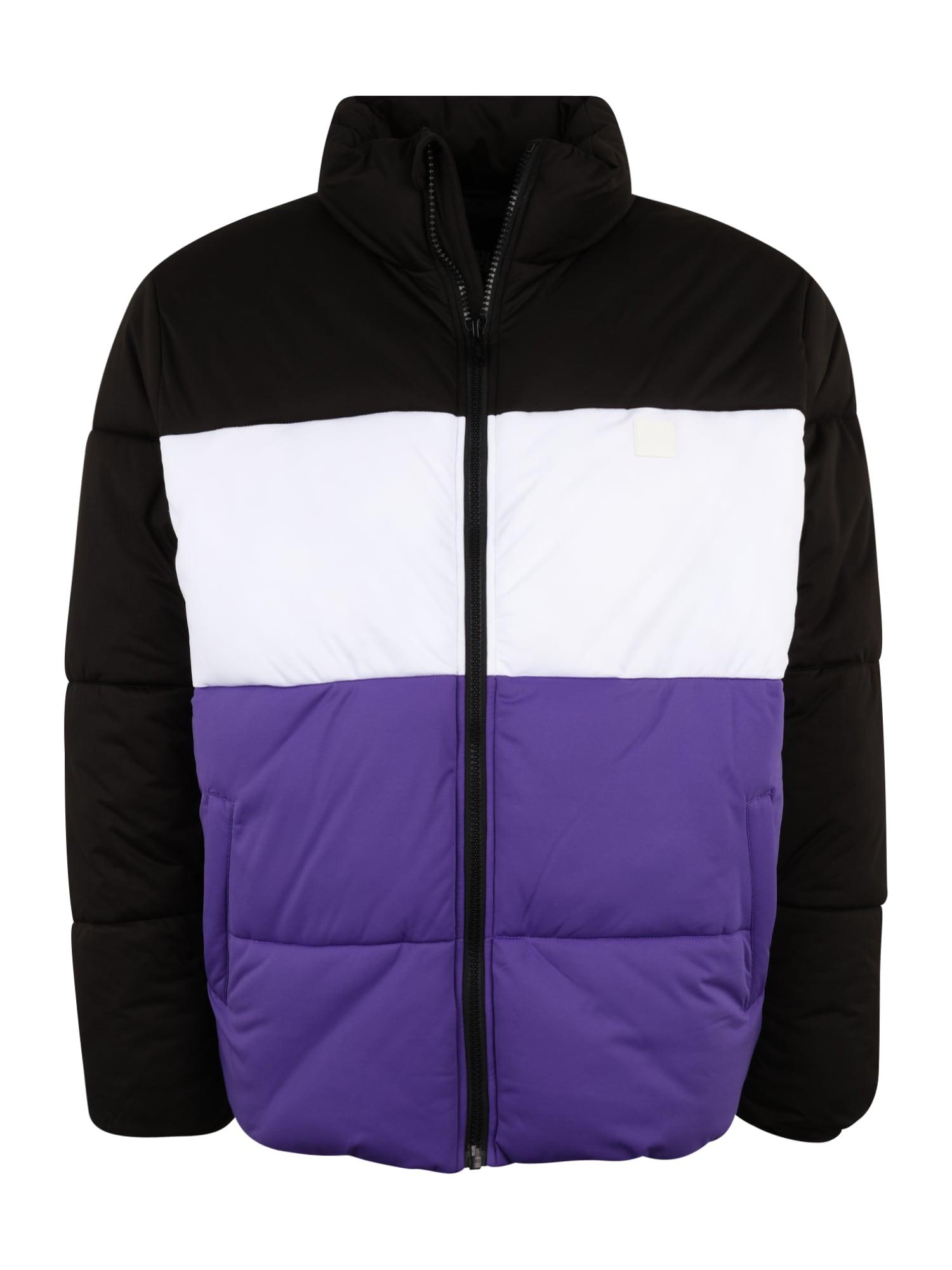 Urban Classics Big & Tall Demisezoninė striukė juoda / balta / tamsiai violetinė
