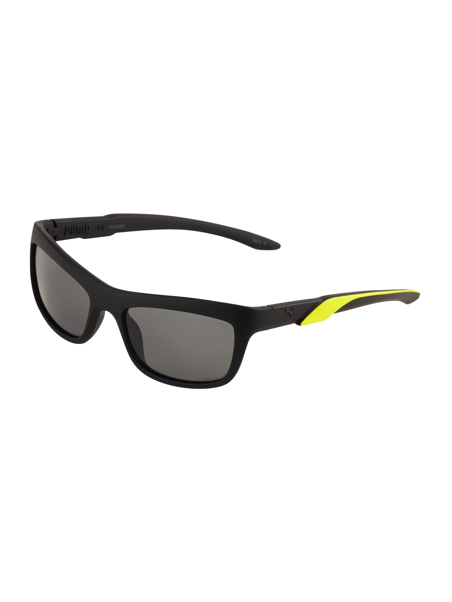 PUMA Akiniai nuo saulės juoda / neoninė geltona
