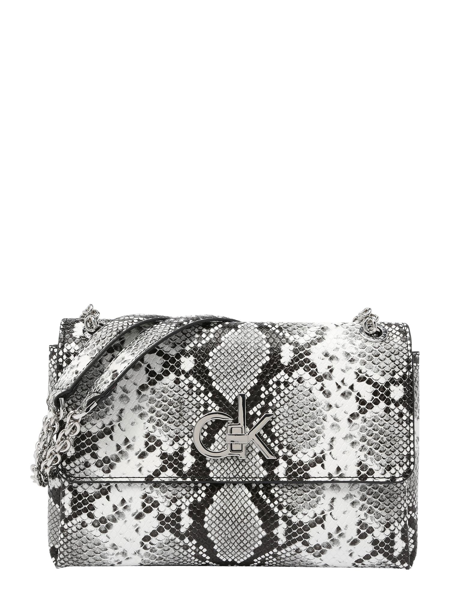 Calvin Klein Rankinė ant peties pilka / balta / juoda