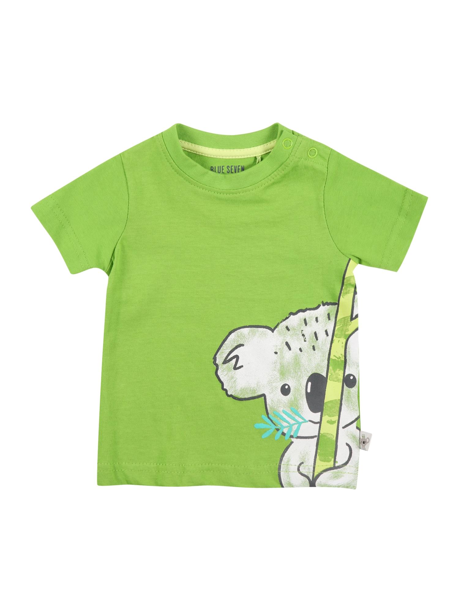 BLUE SEVEN Marškinėliai žalia / šviesiai pilka / pastelinė geltona / turkio spalva