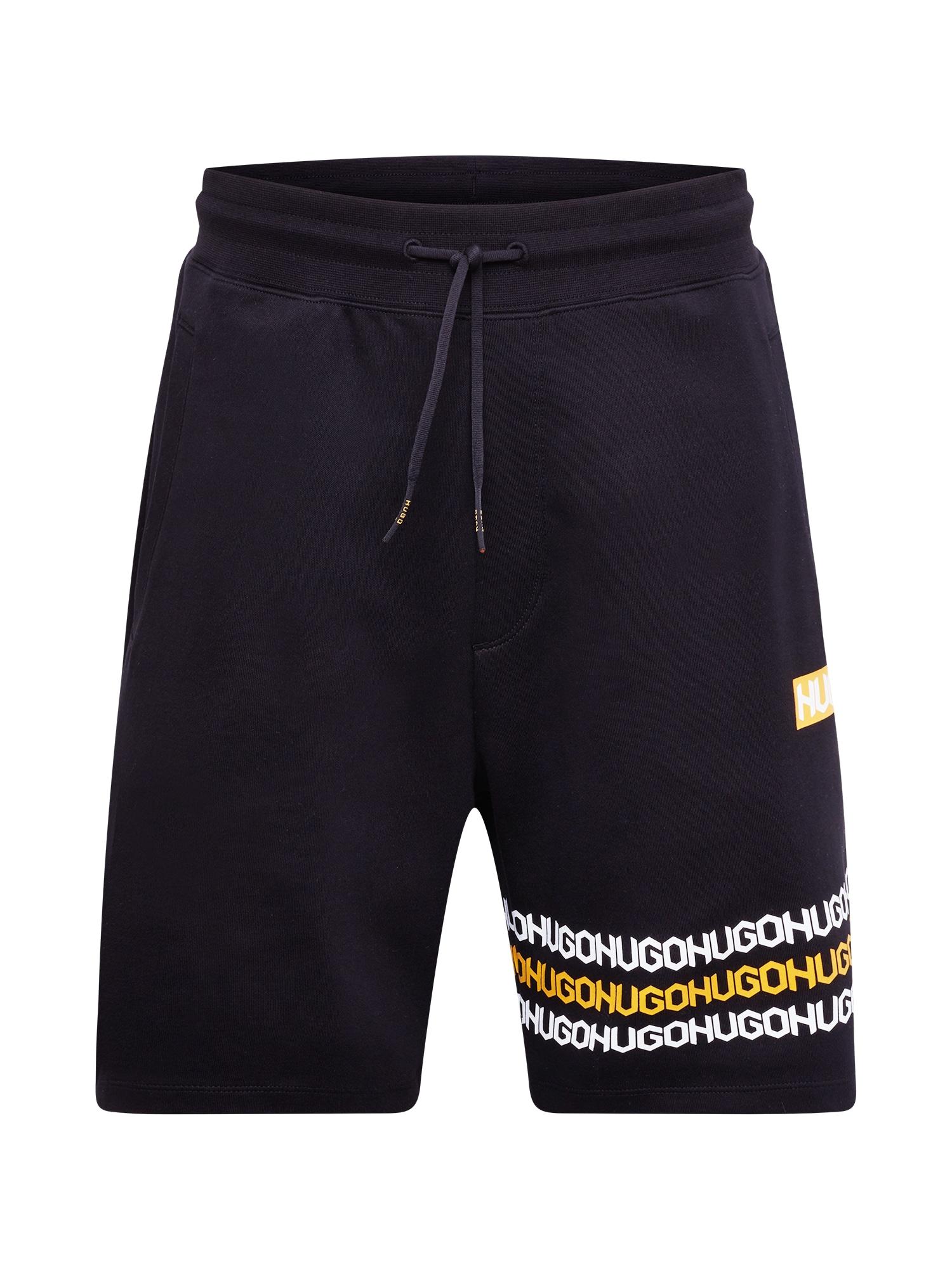 HUGO Kelnės 'Dakumi' juoda / balta / oranžinė