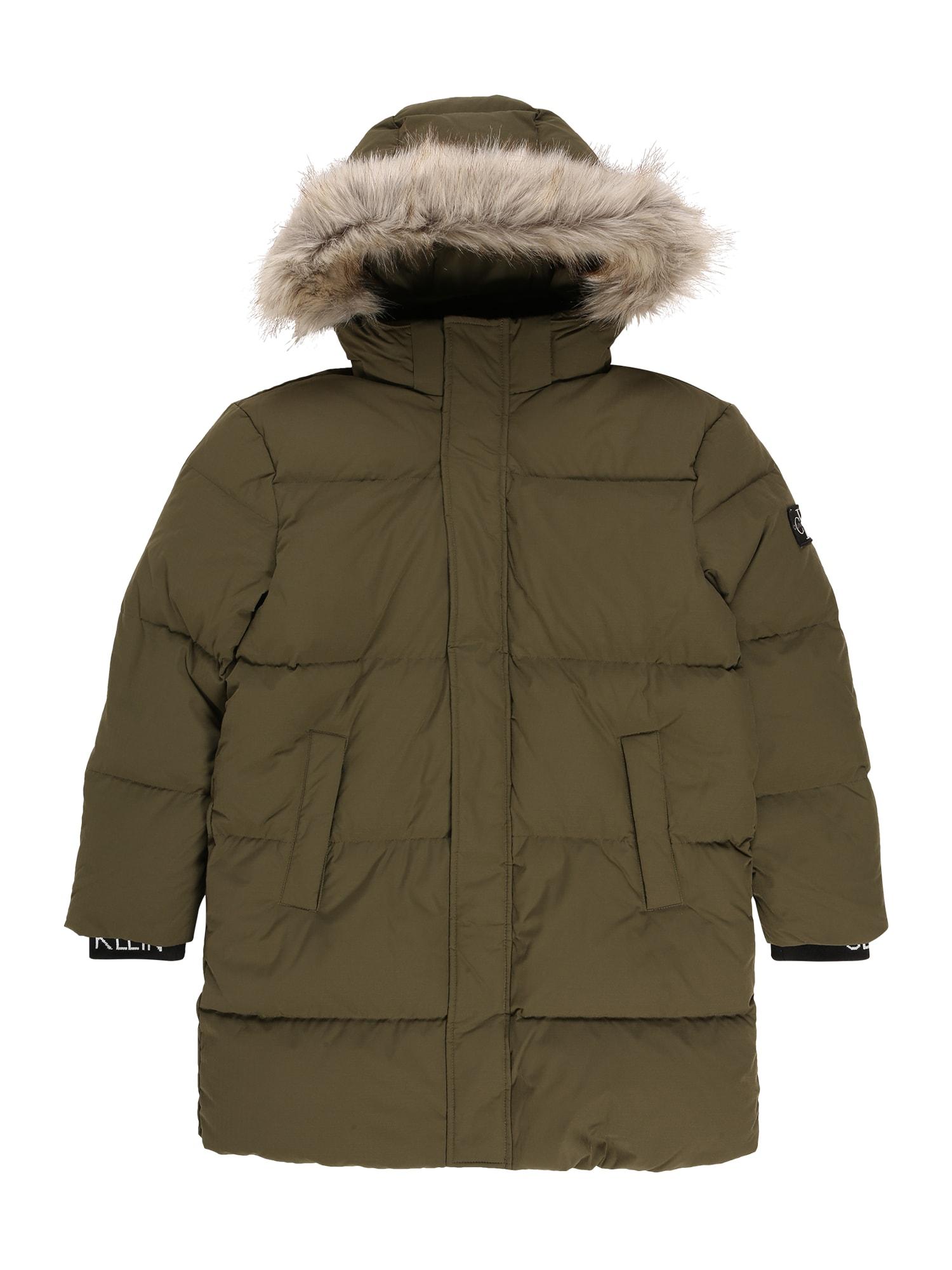 Calvin Klein Jeans Žieminė striukė rusvai žalia / juoda