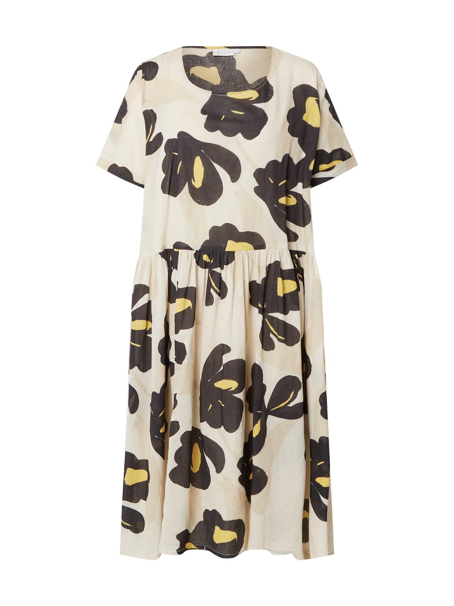 Masai Suknelė juoda / geltona / šampano