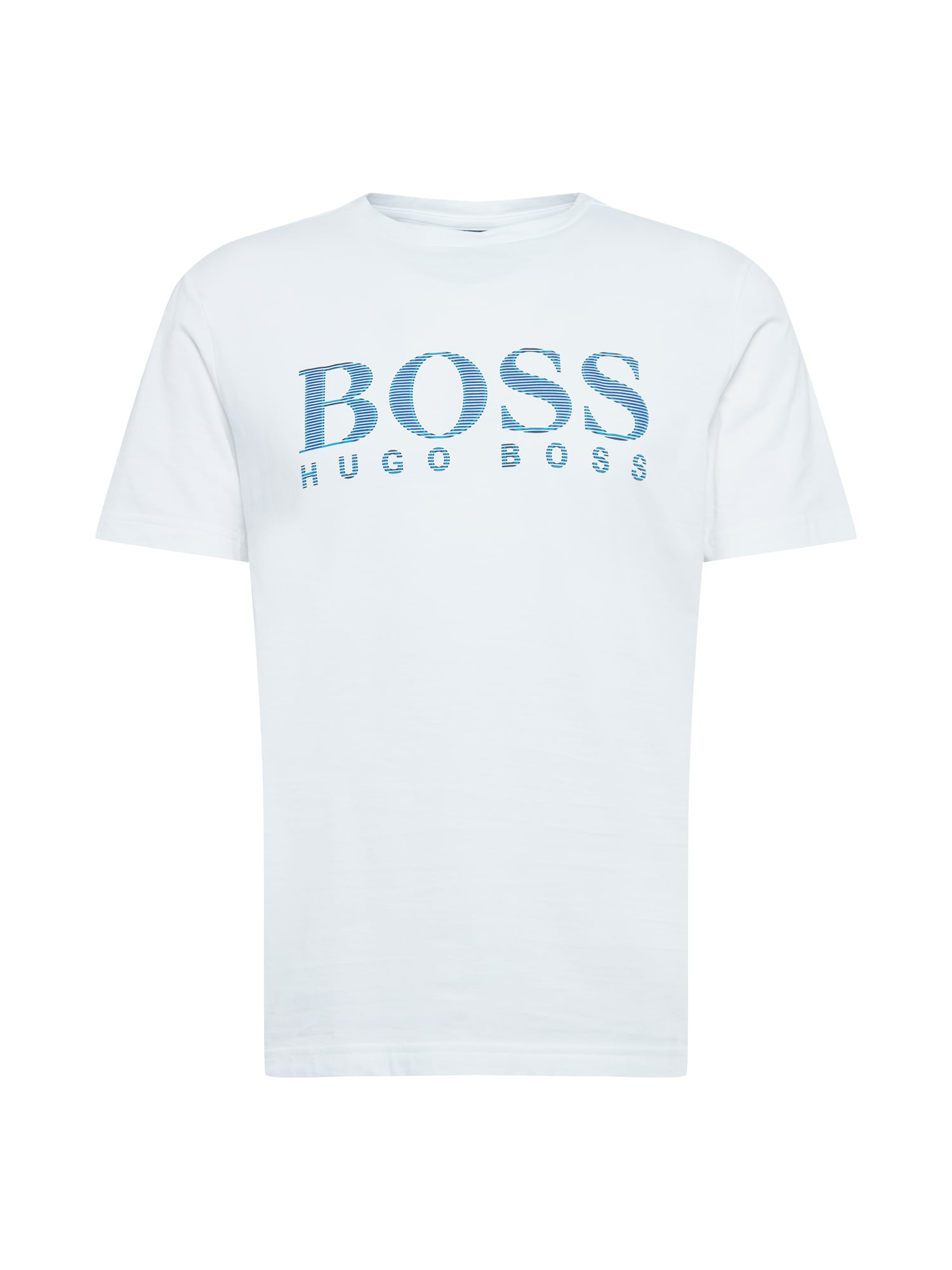 BOSS ATHLEISURE Marškinėliai balta / mėlyna