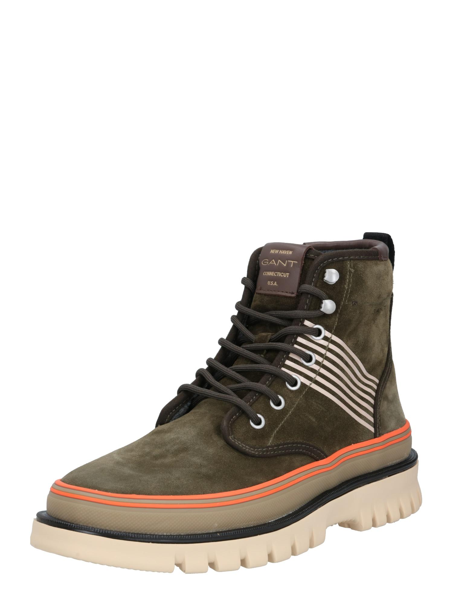 GANT Šněrovací boty 'Nebrada'  olivová / tmavě oranžová / krémová
