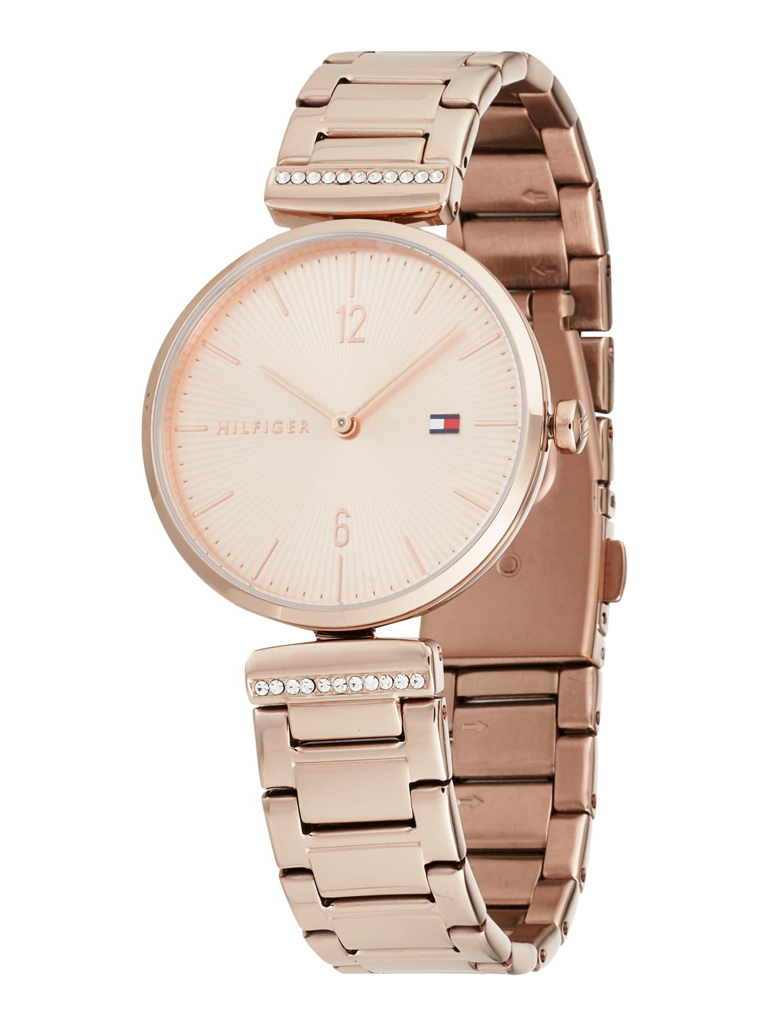 TOMMY HILFIGER Analoginis (įprasto dizaino) laikrodis rožinio aukso spalva / tamsiai mėlyna / balta / melionų spalva