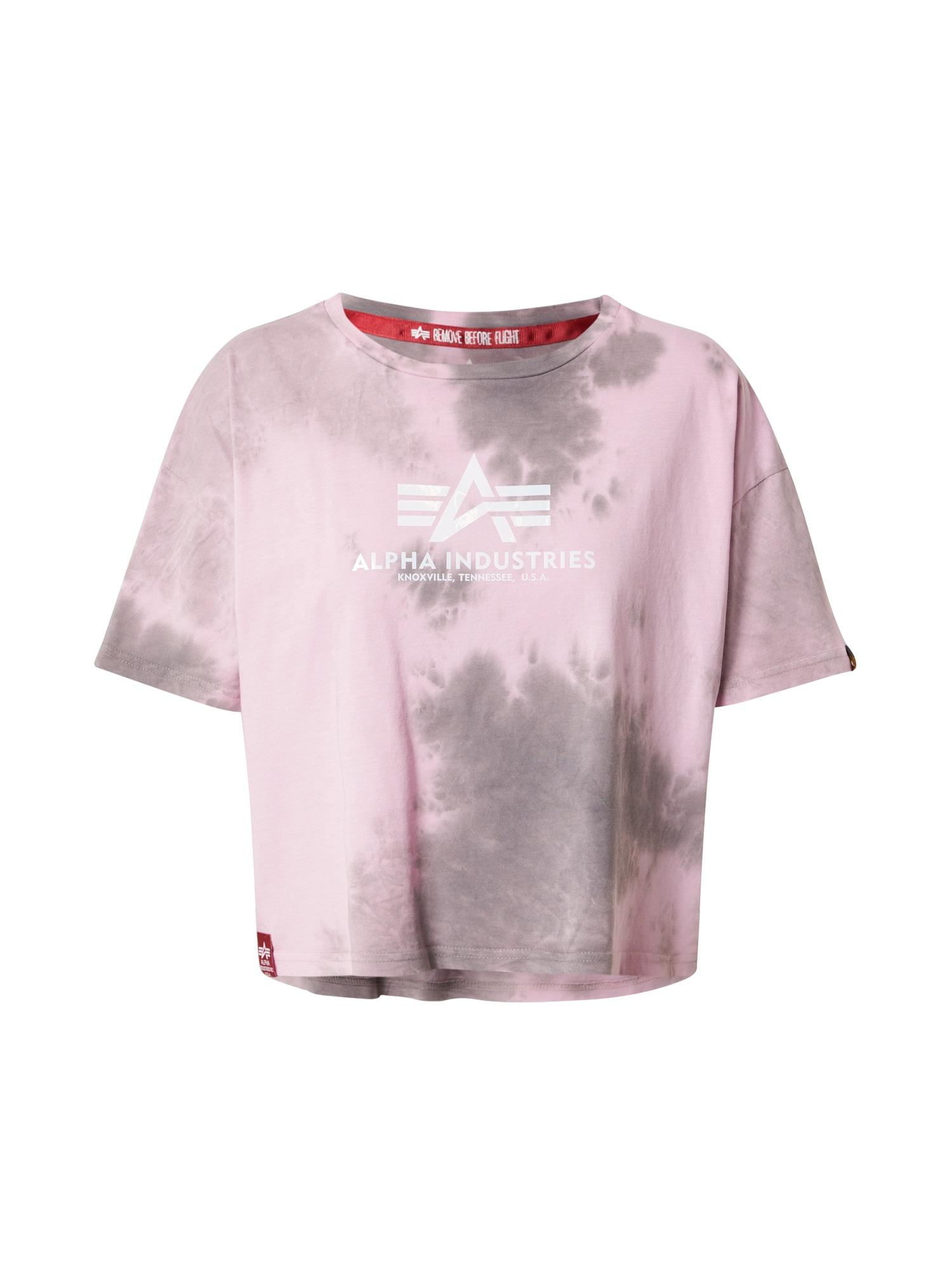 ALPHA INDUSTRIES Marškinėliai akmens / balta / rožių spalva