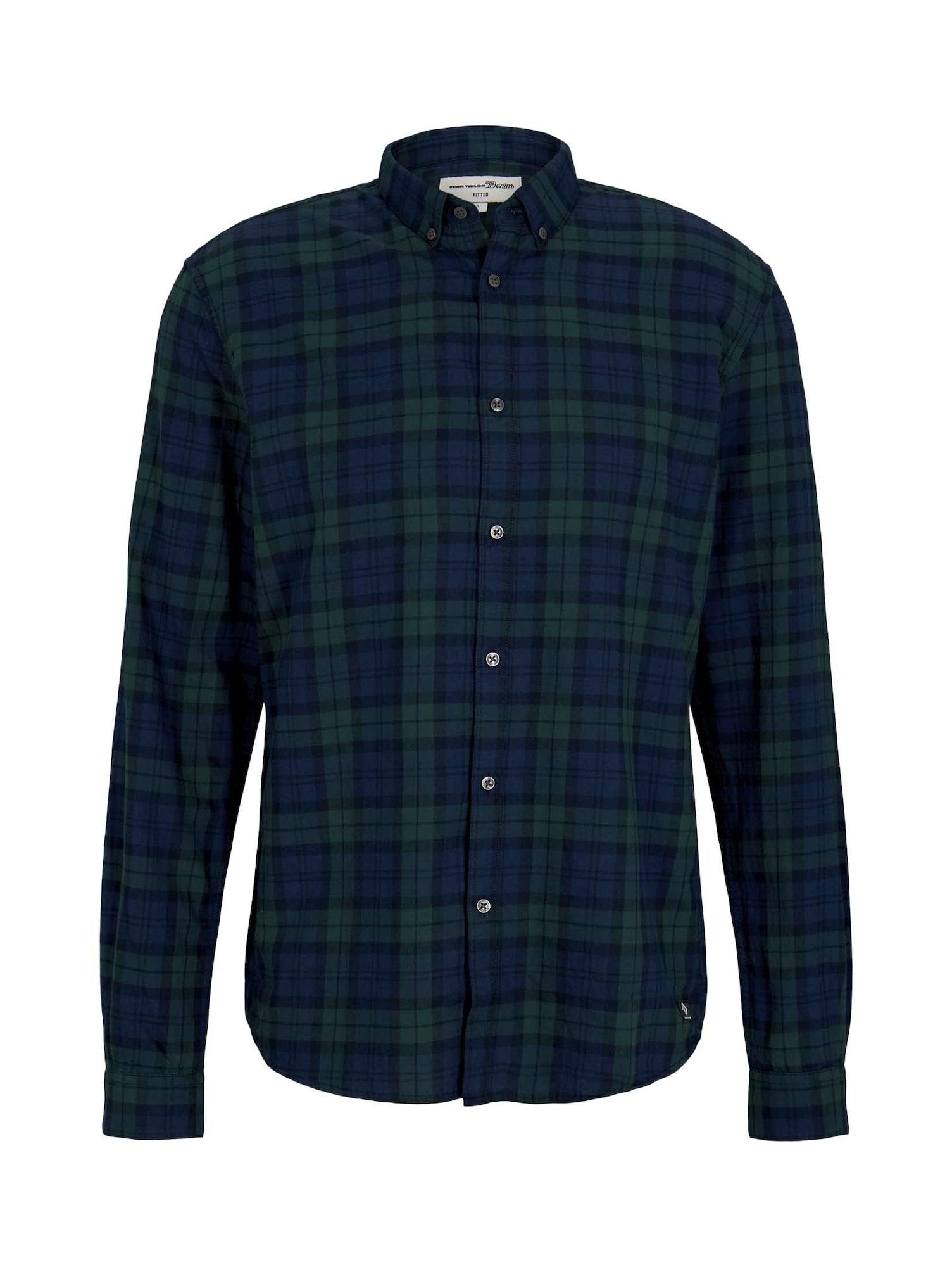 TOM TAILOR DENIM Košile  tmavě modrá / tmavě zelená