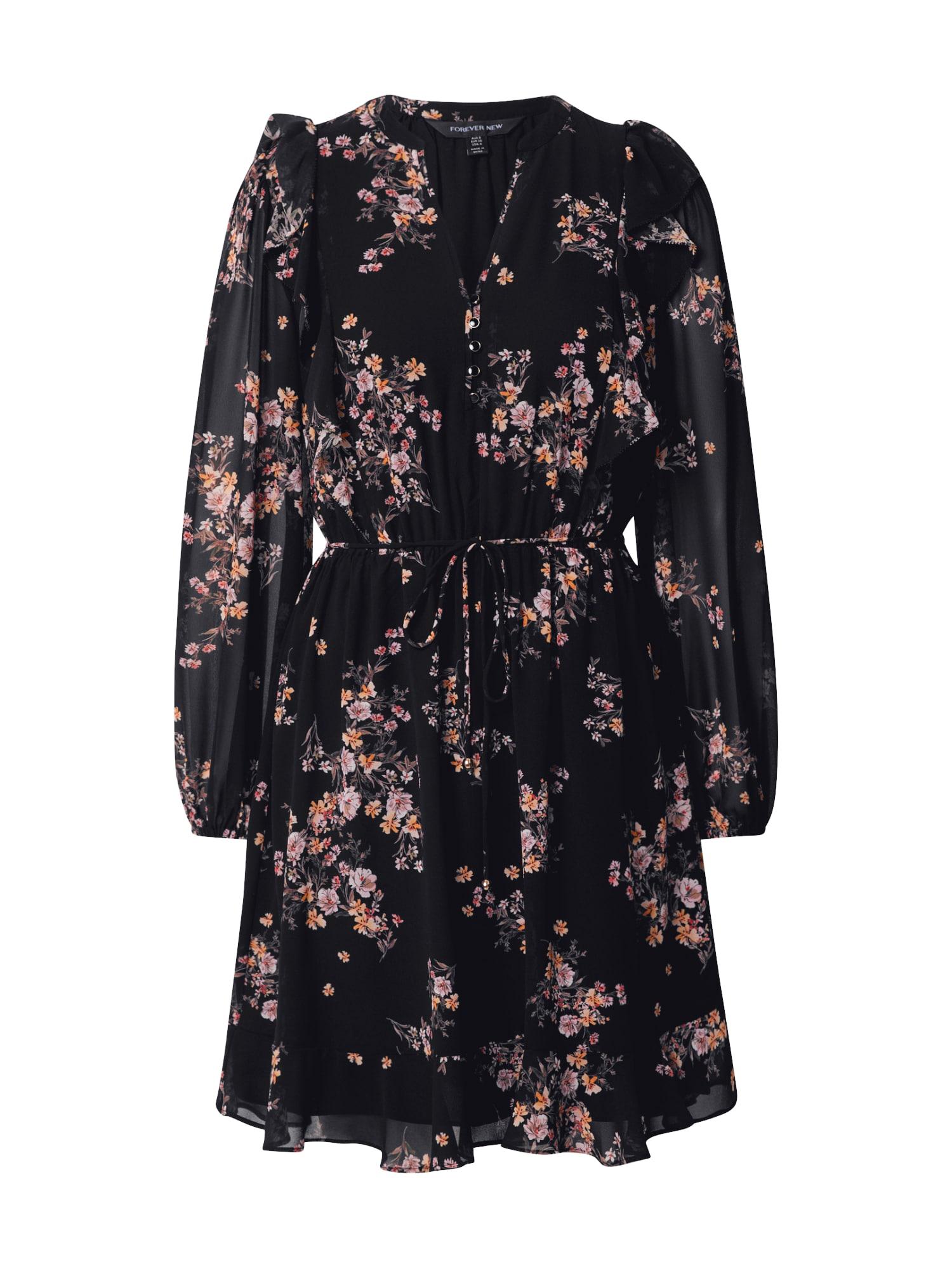 Forever New Palaidinės tipo suknelė rožių spalva / juoda / pastelinė oranžinė / ruda / ryškiai rožinė spalva