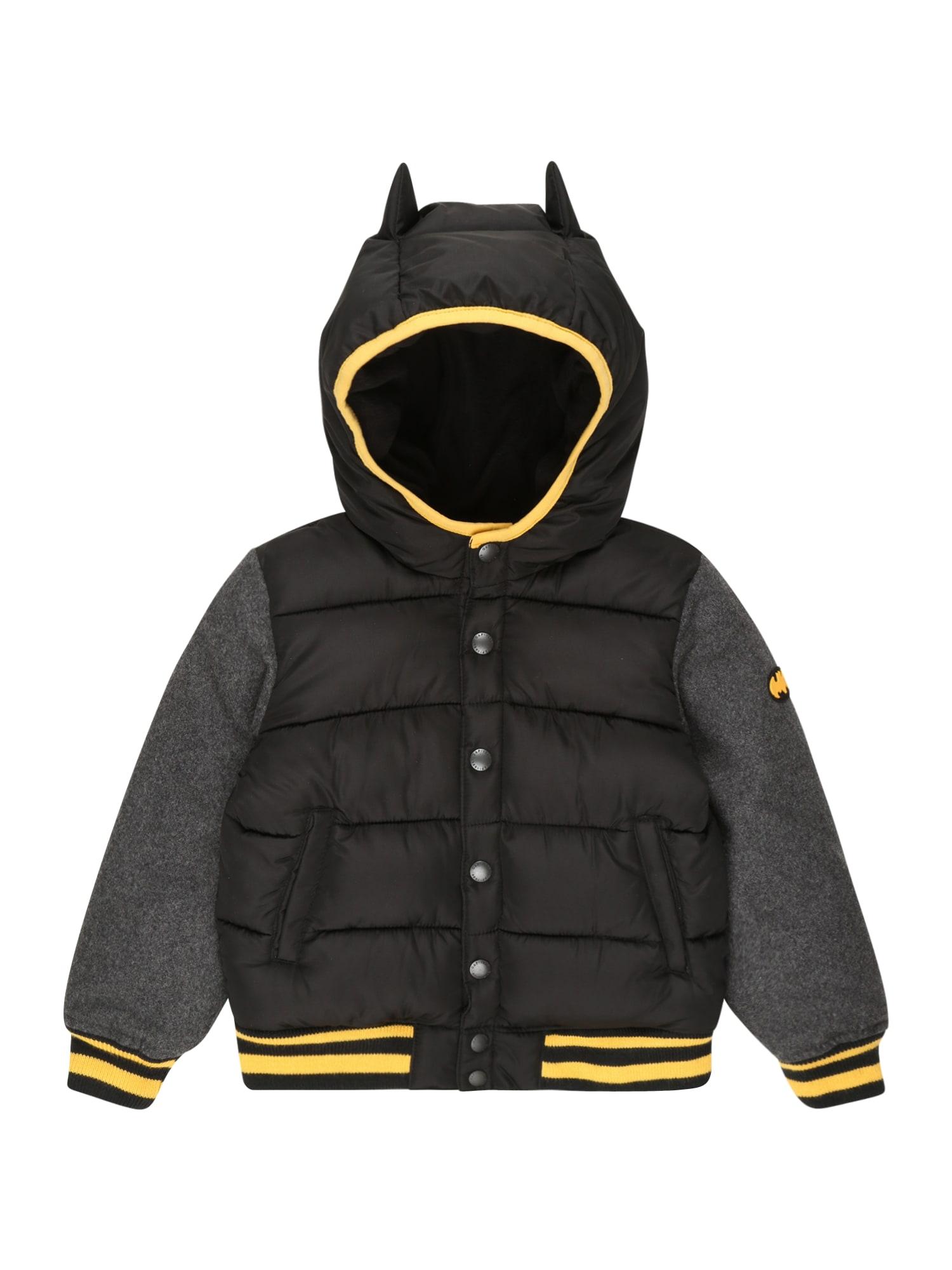 GAP Přechodná bunda 'VARSITY'  černá / černý melír / žlutá