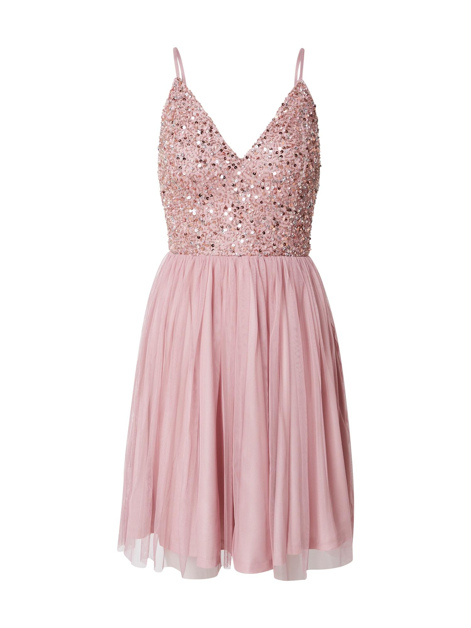 LACE & BEADS Kokteilové šaty 'Allison'  strieborná / ružová