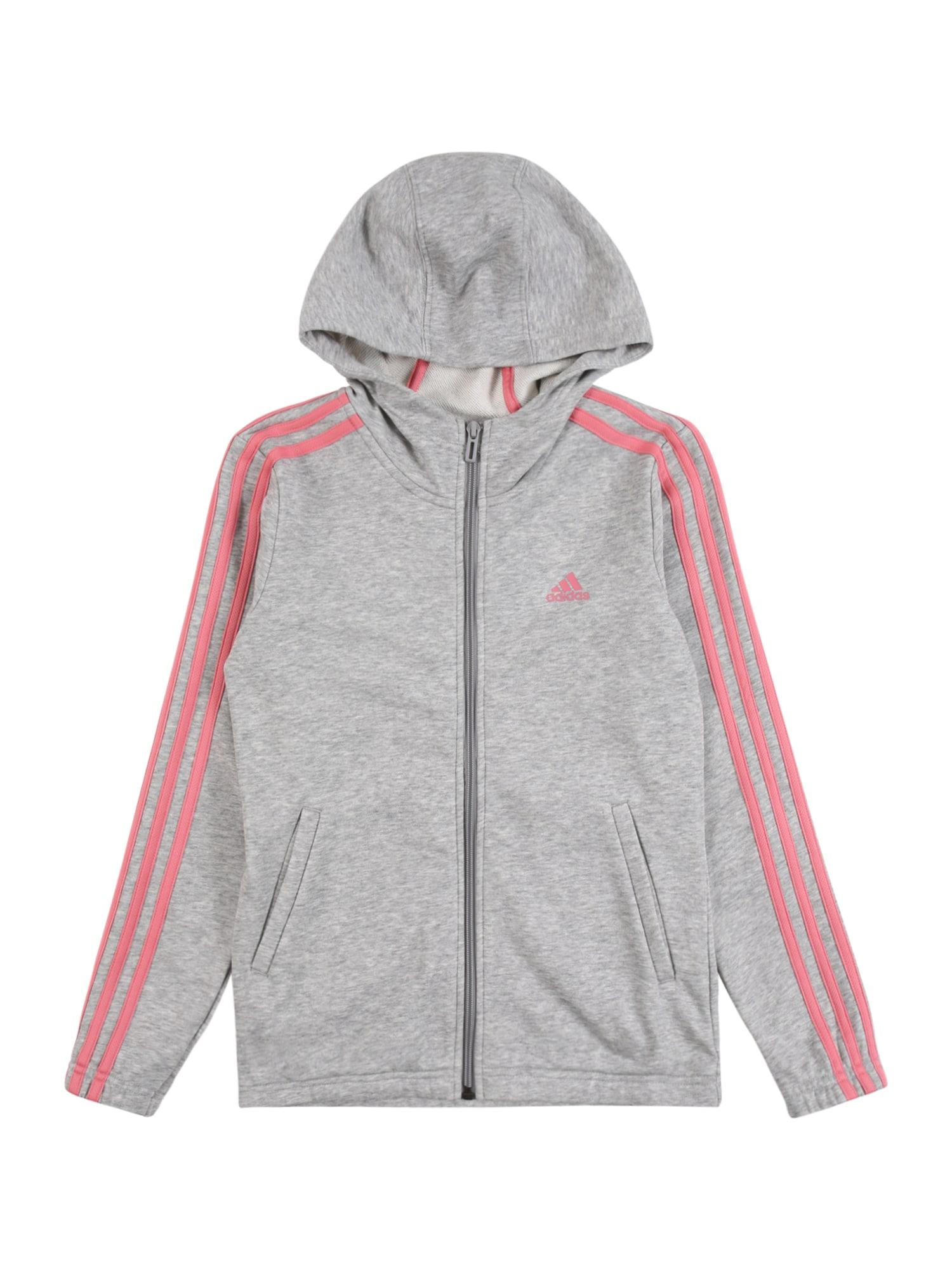 ADIDAS PERFORMANCE Sportinis džemperis šviesiai pilka / rožių spalva / pastelinė rožinė