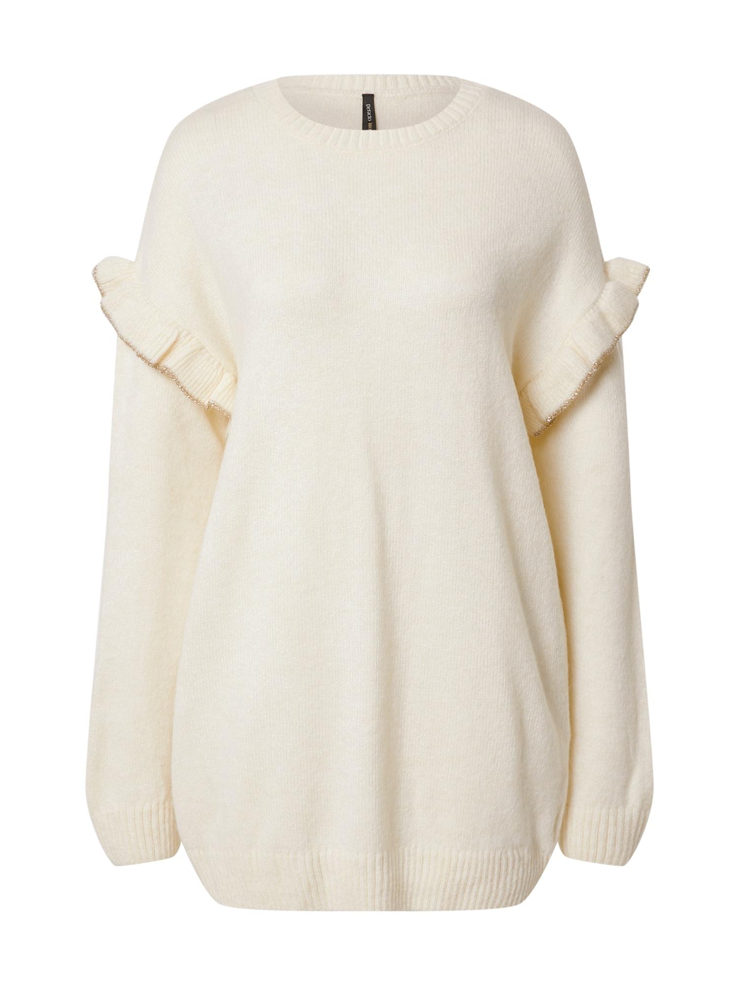 DeFacto Laisvas megztinis balta / auksas
