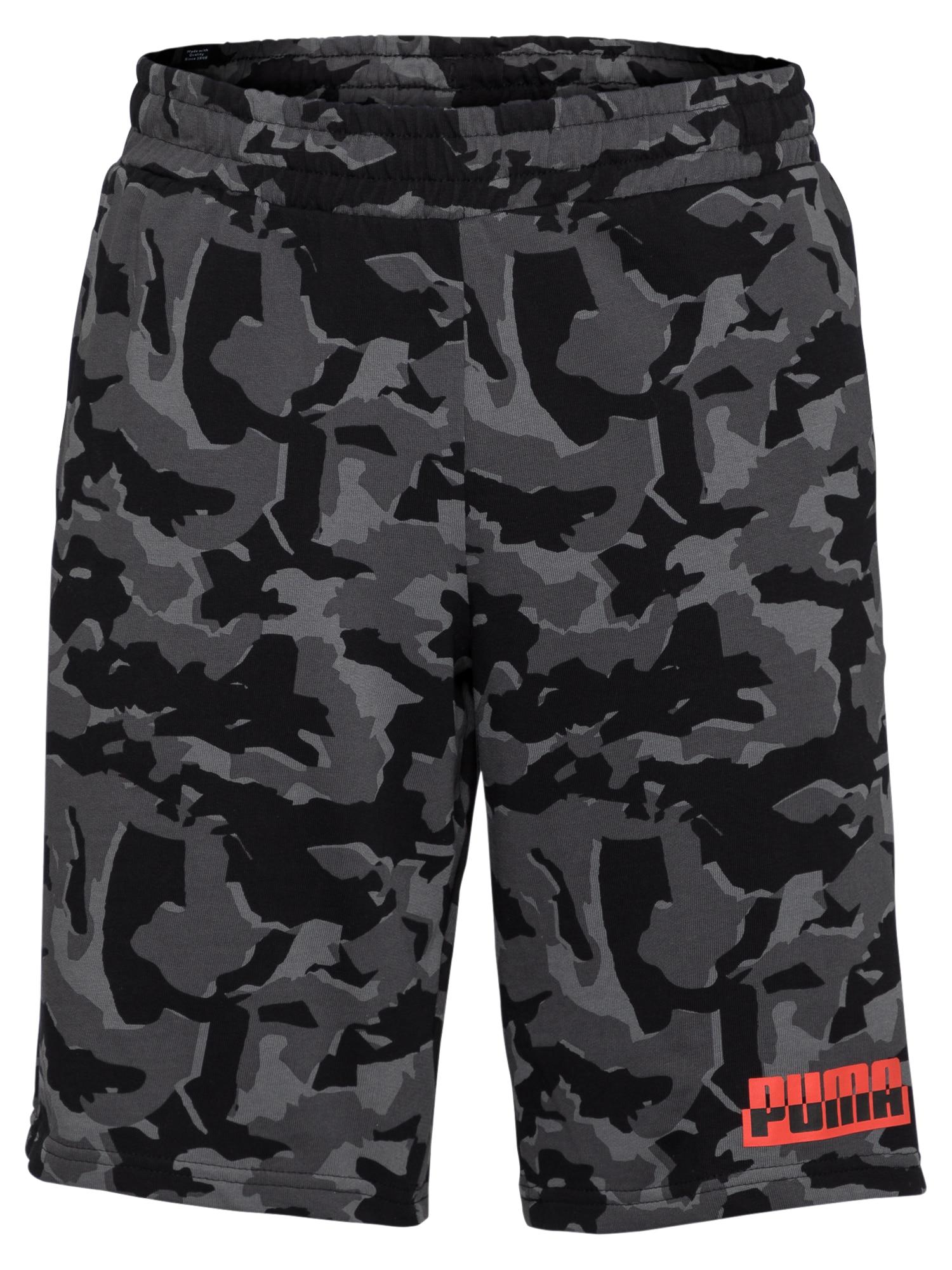 PUMA Sportinės kelnės juoda / pilka / tamsiai pilka