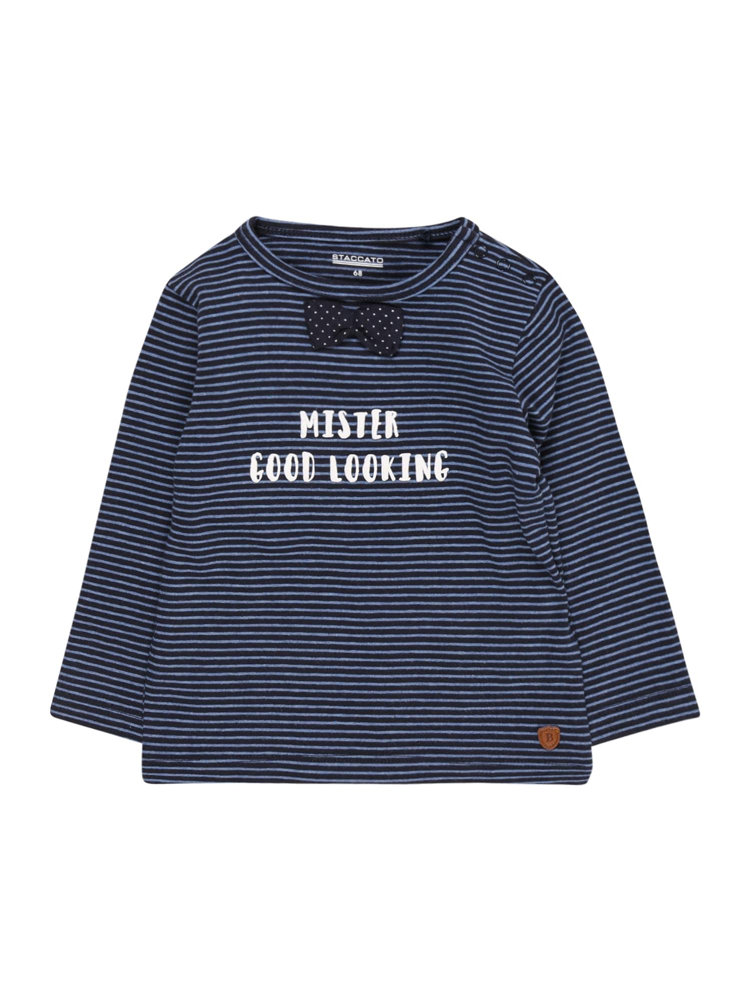 STACCATO Marškinėliai tamsiai mėlyna / mėlyna dūmų spalva / balta