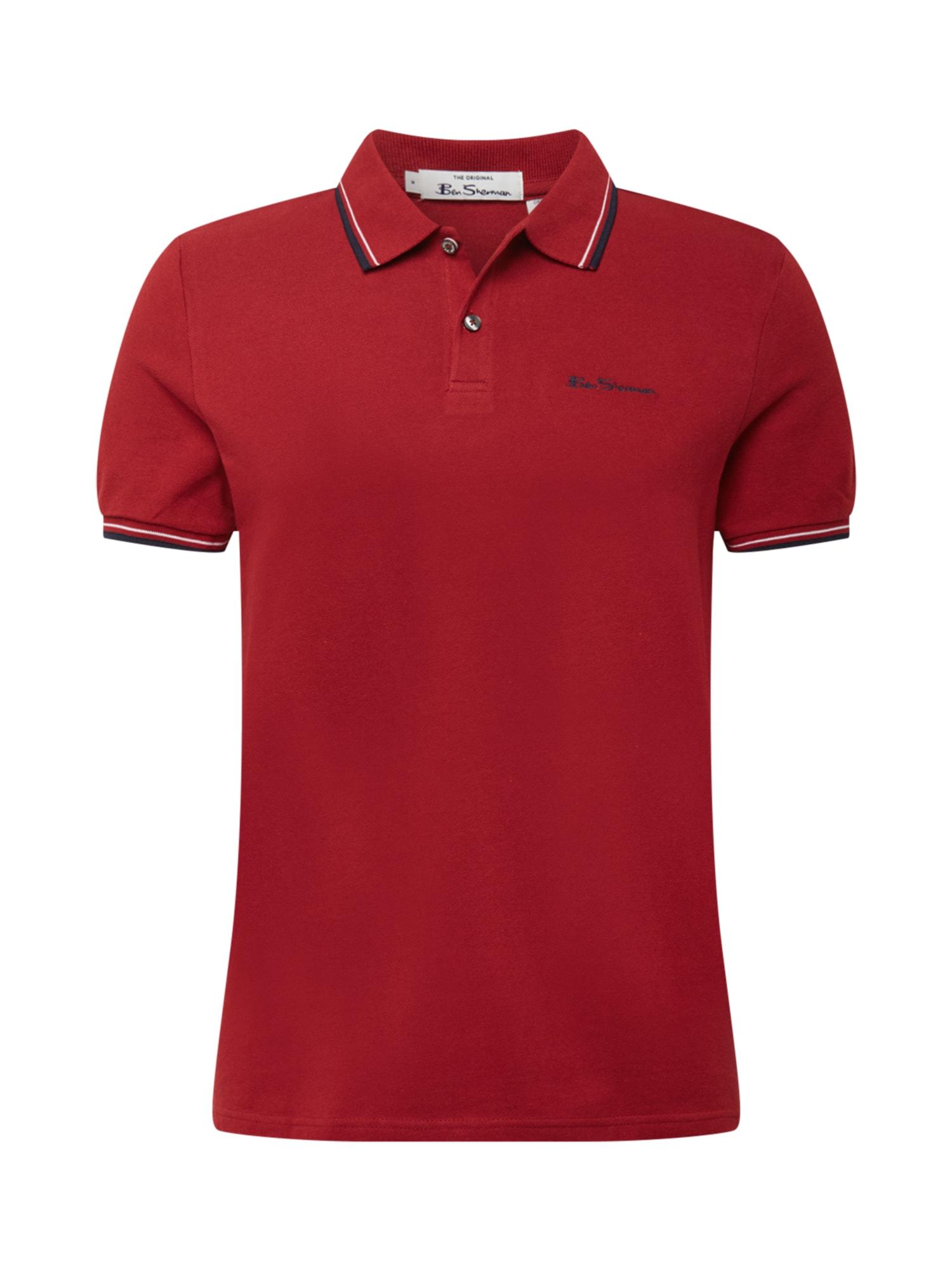 Ben Sherman Marškinėliai raudona / tamsiai mėlyna / balta