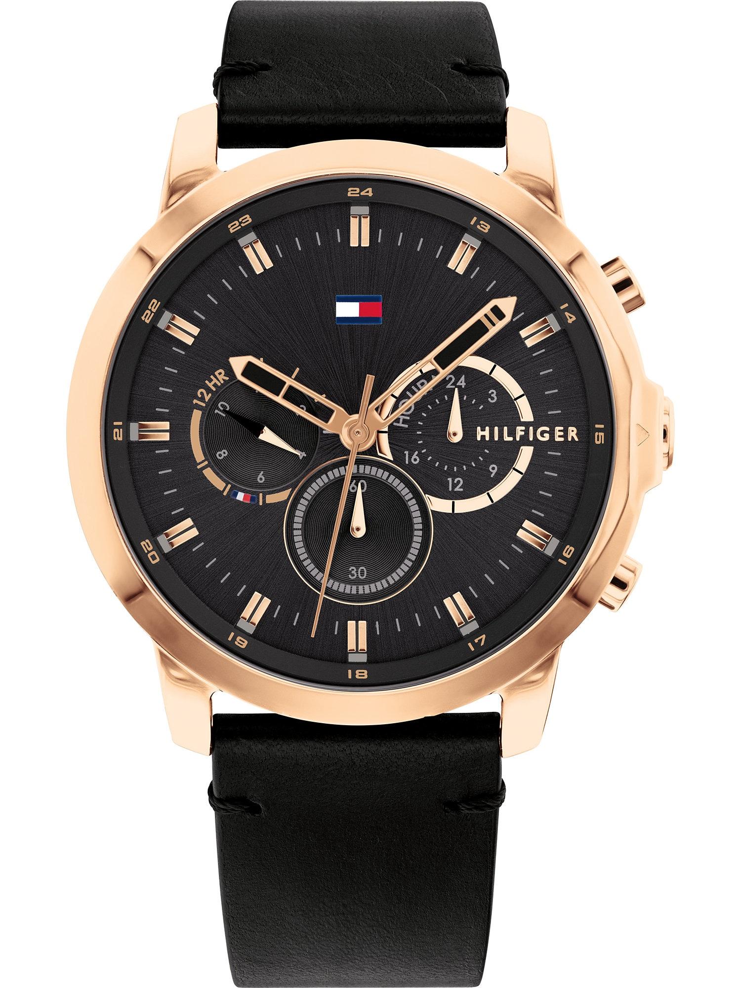 TOMMY HILFIGER Analoginis (įprasto dizaino) laikrodis juoda / rožinio aukso spalva