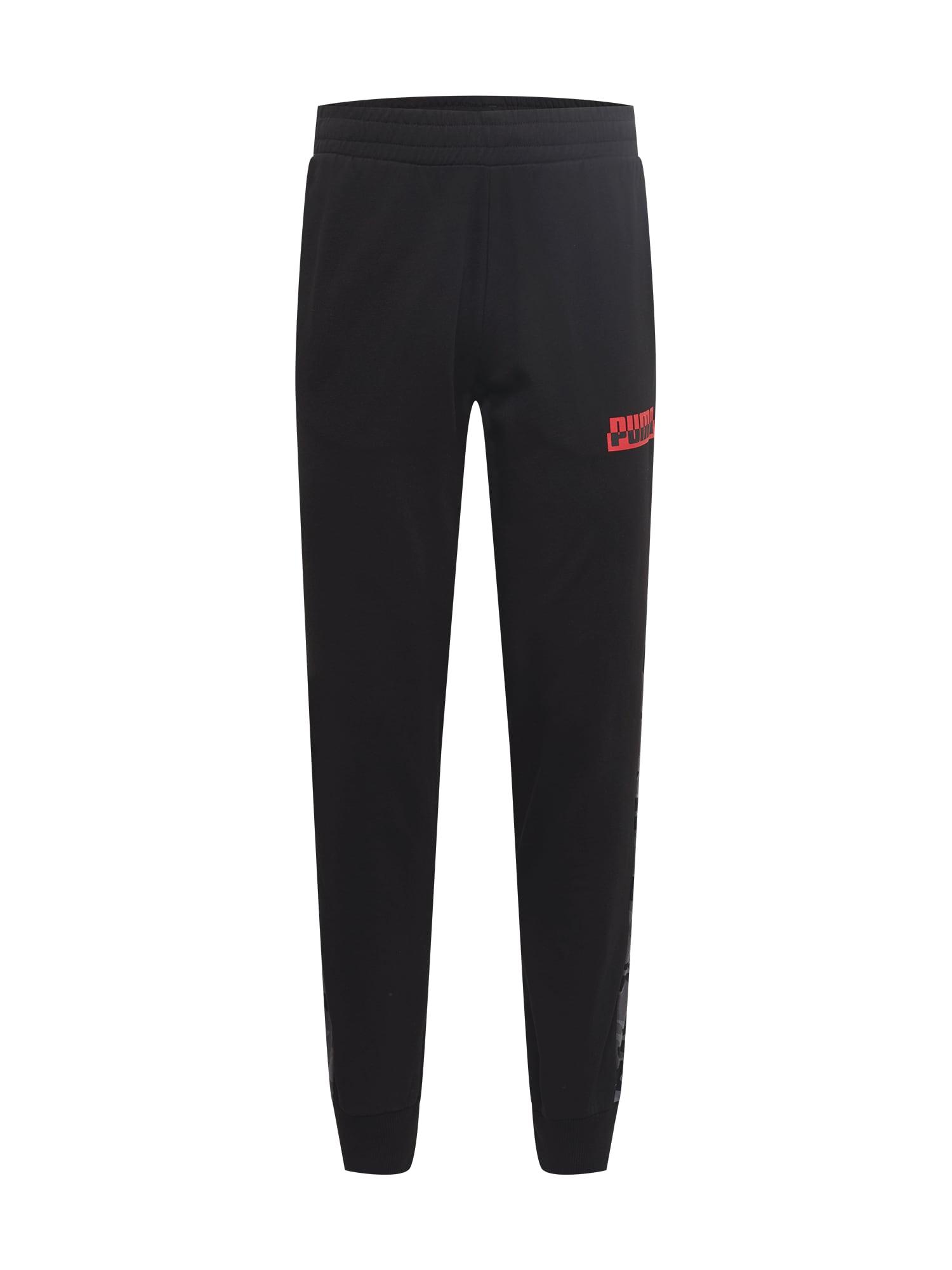 PUMA Sportinės kelnės juoda / raudona / pilka / šviesiai pilka