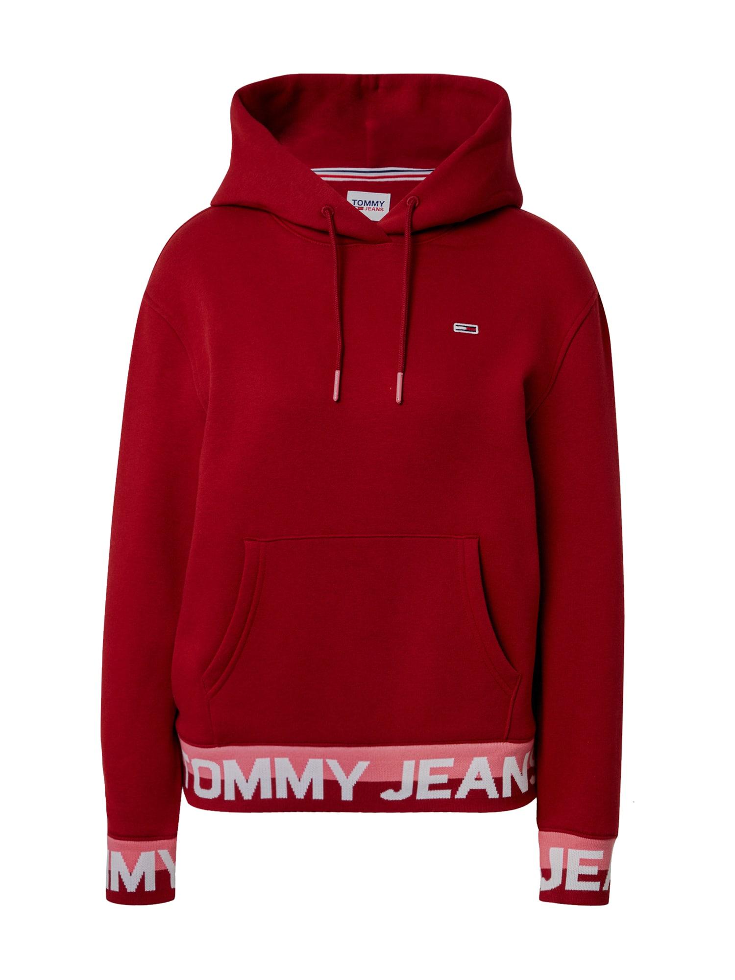 Tommy Jeans Mikina  krvavě červená / bílá / pink