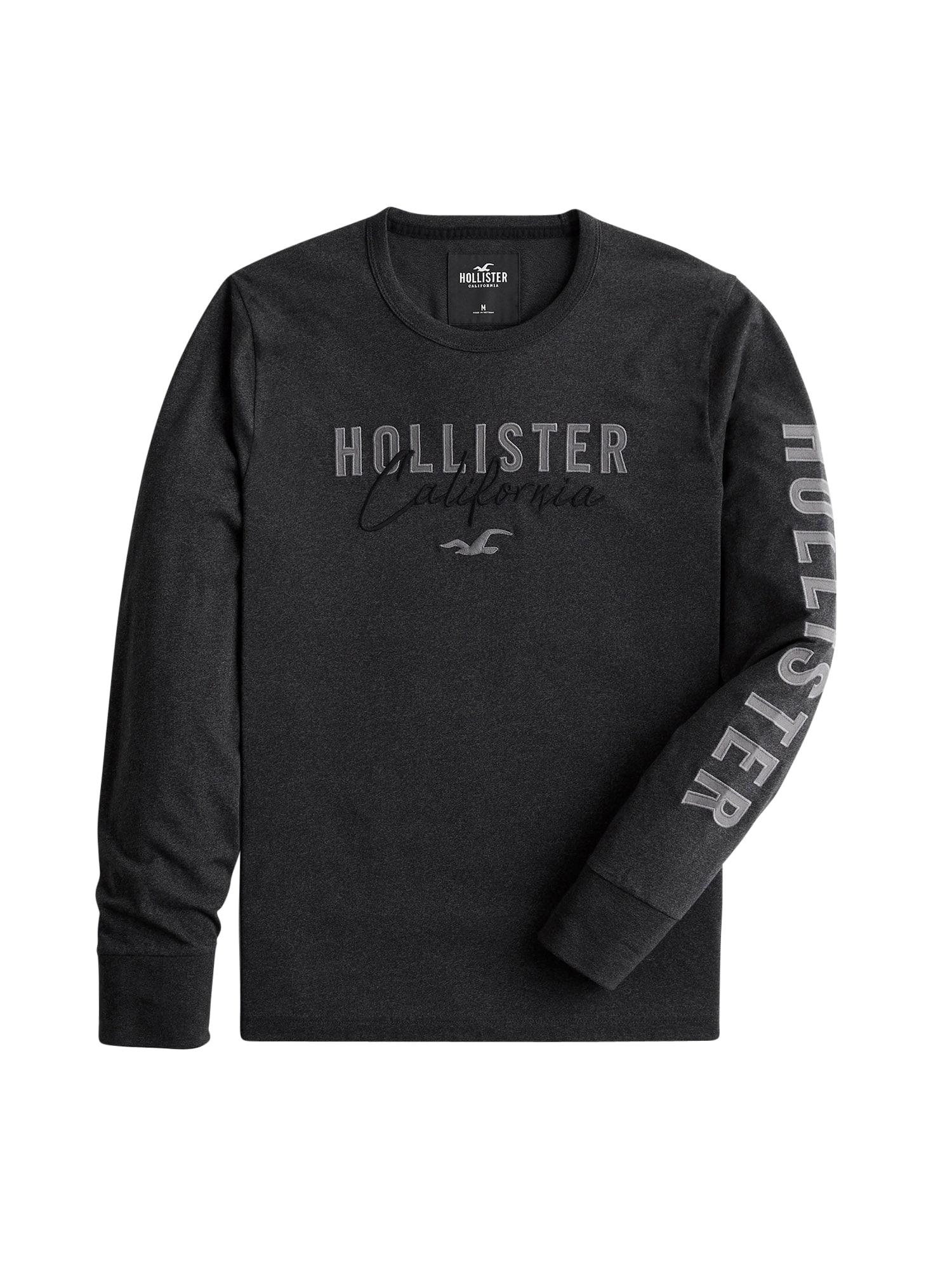 HOLLISTER Tričko  černý melír / šedá