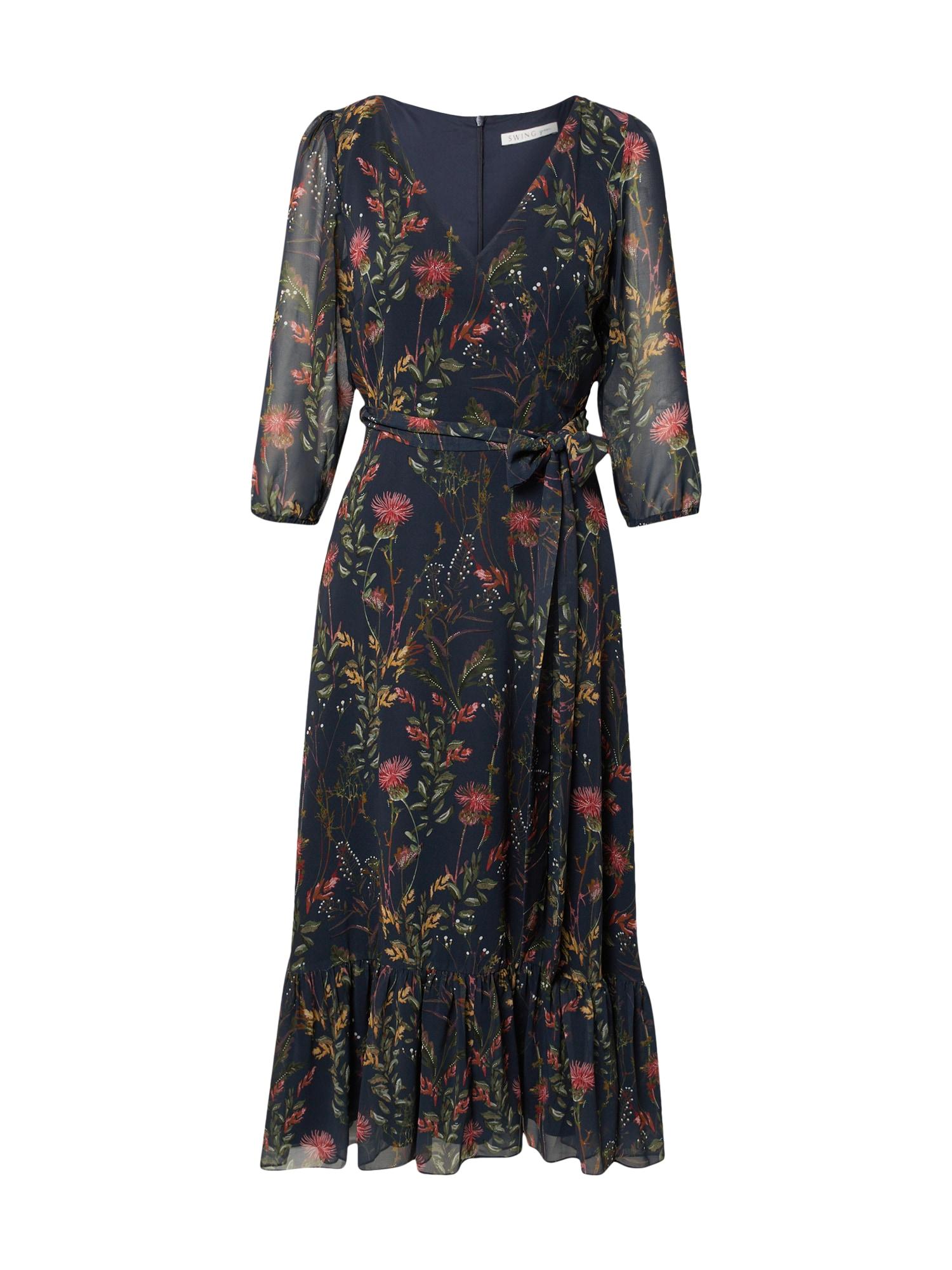 SWING Suknelė tamsiai mėlyna / ruda / alyvuogių spalva / raudona