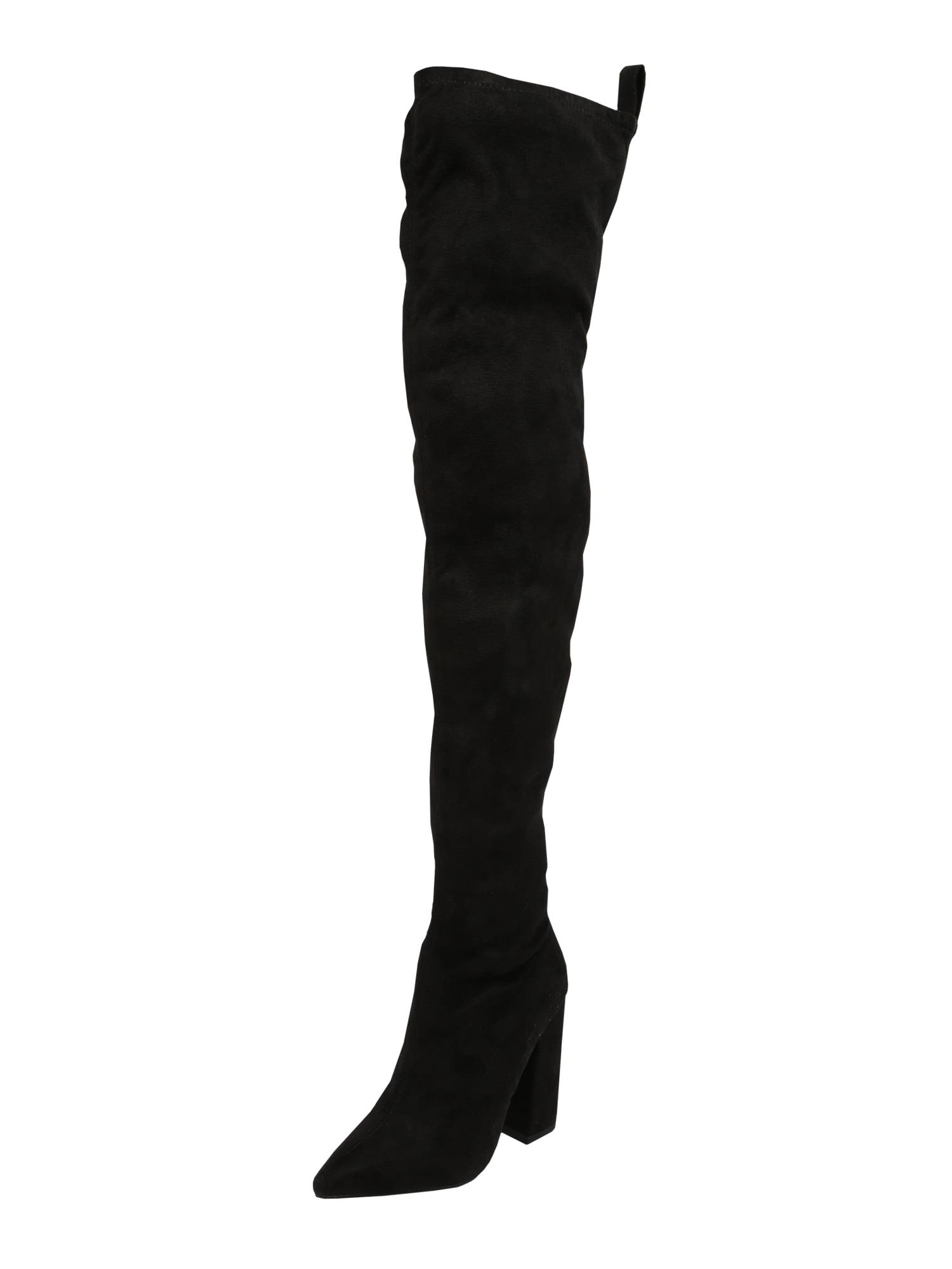 Missguided Kozačky nad kolena  černá