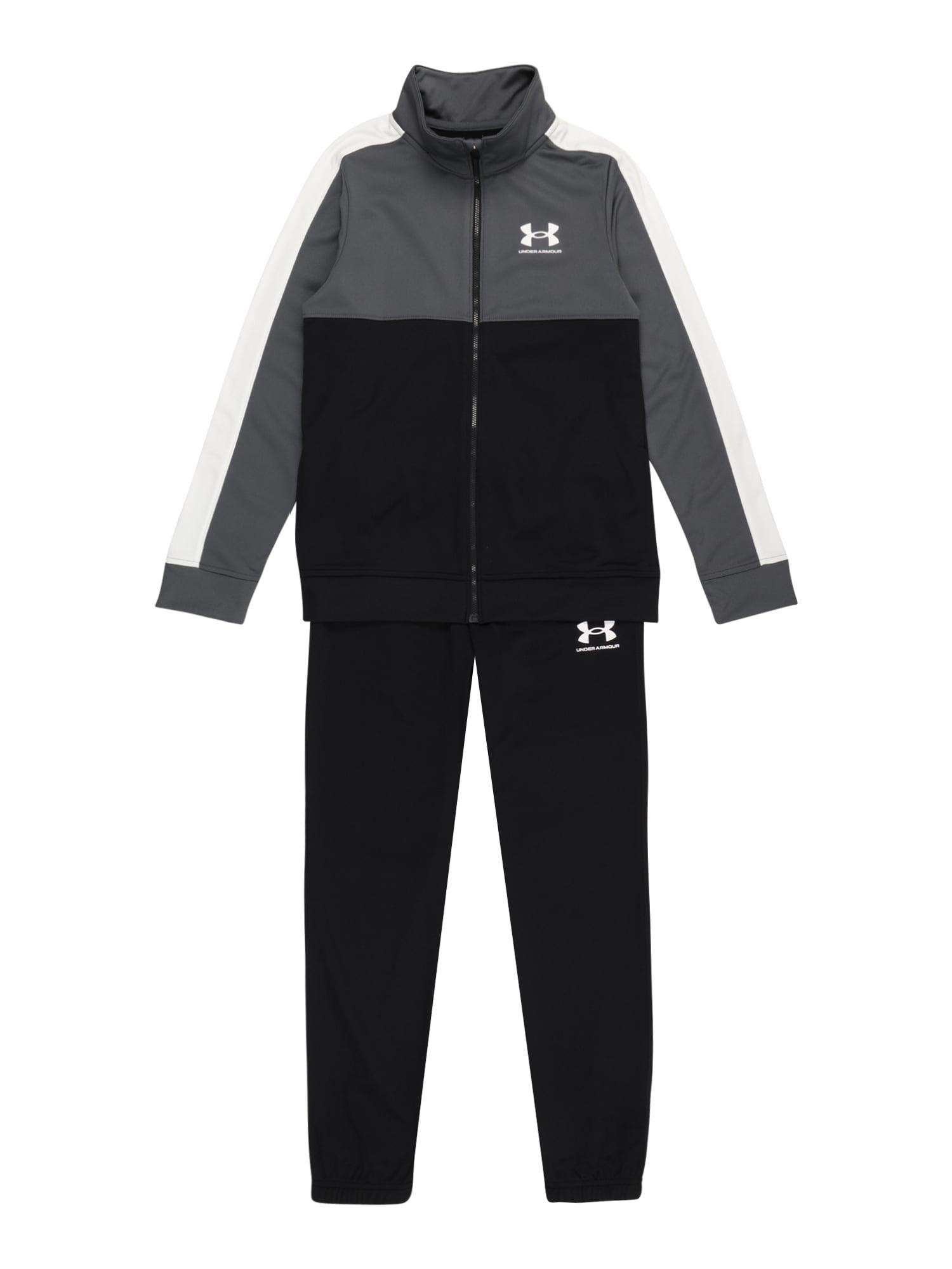 UNDER ARMOUR Treniruočių kostiumas juoda / tamsiai pilka / balta
