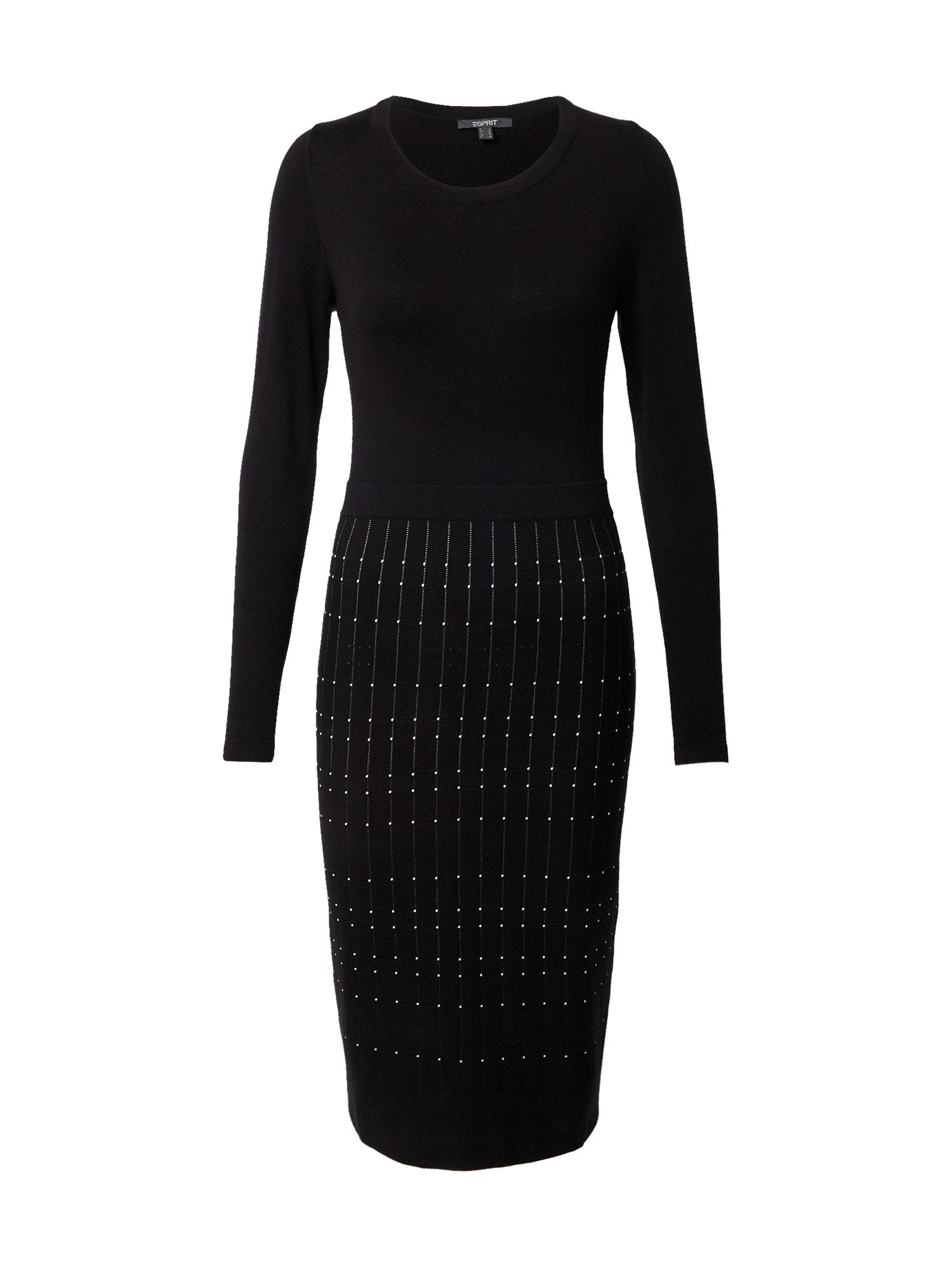 Esprit Collection Megzta suknelė juoda / balta
