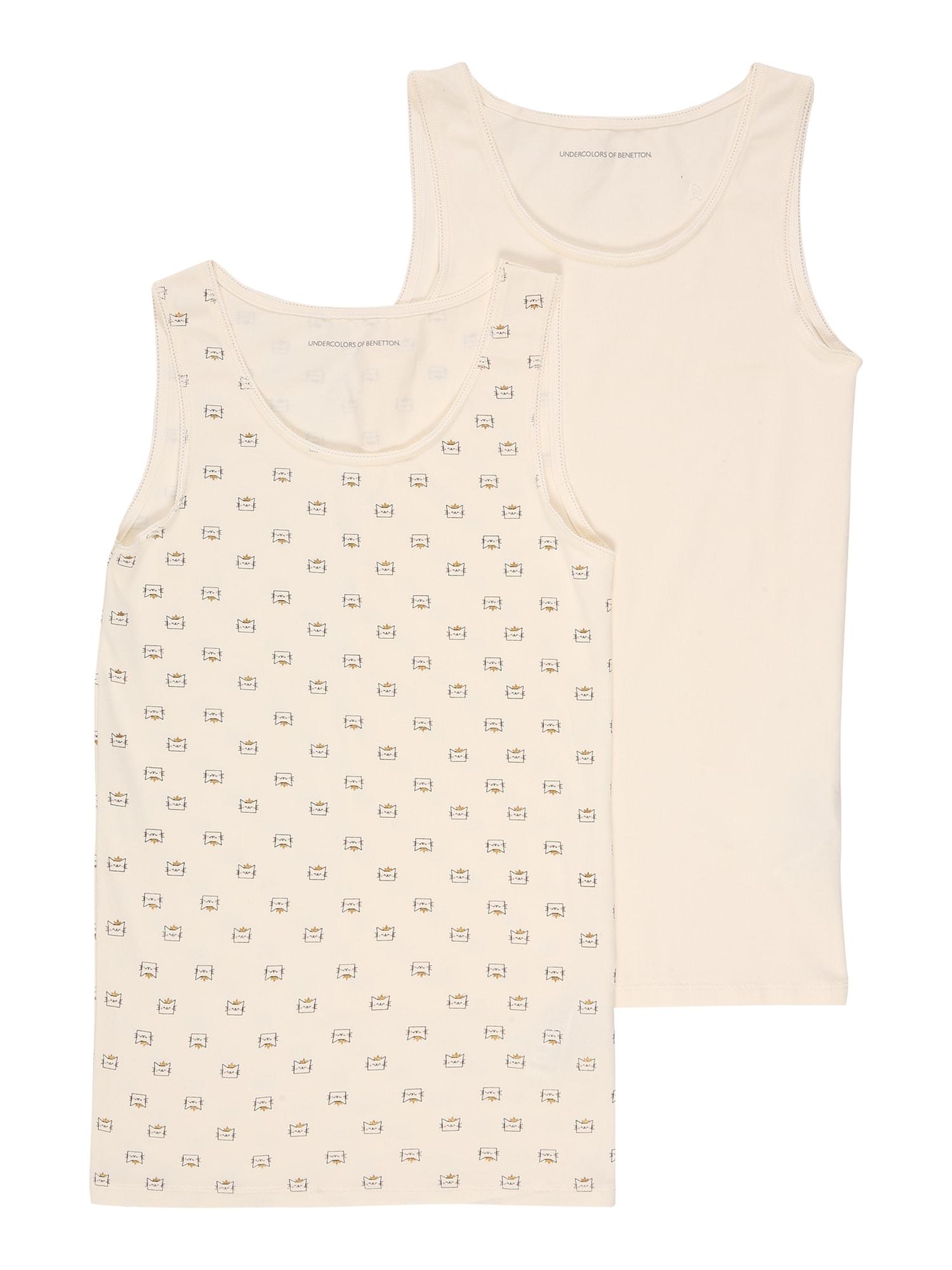 UNITED COLORS OF BENETTON Apatiniai marškinėliai smėlio / juoda / garstyčių spalva / rožių spalva