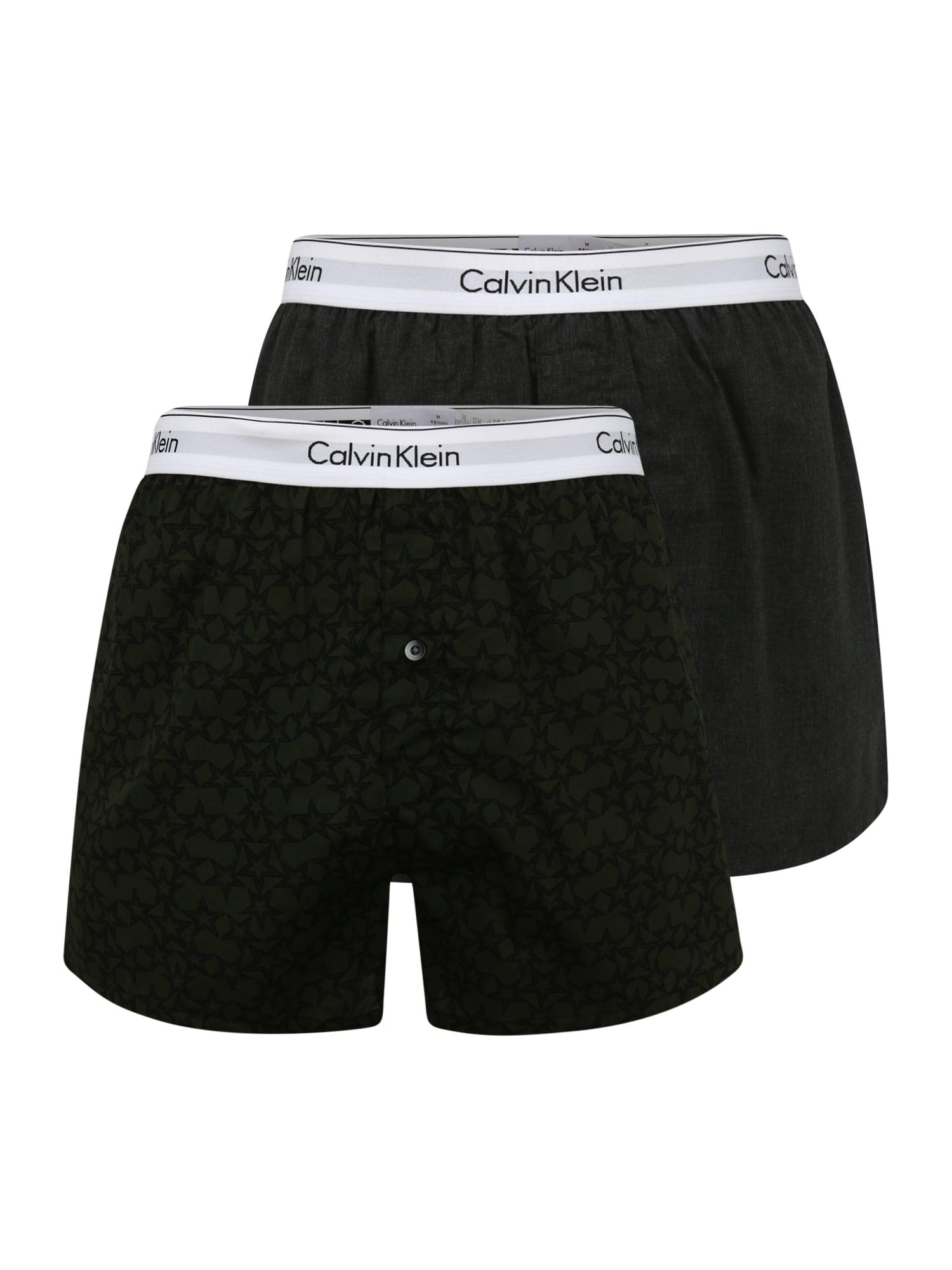 Calvin Klein Underwear Boxer trumpikės margai pilka / tamsiai žalia / juoda