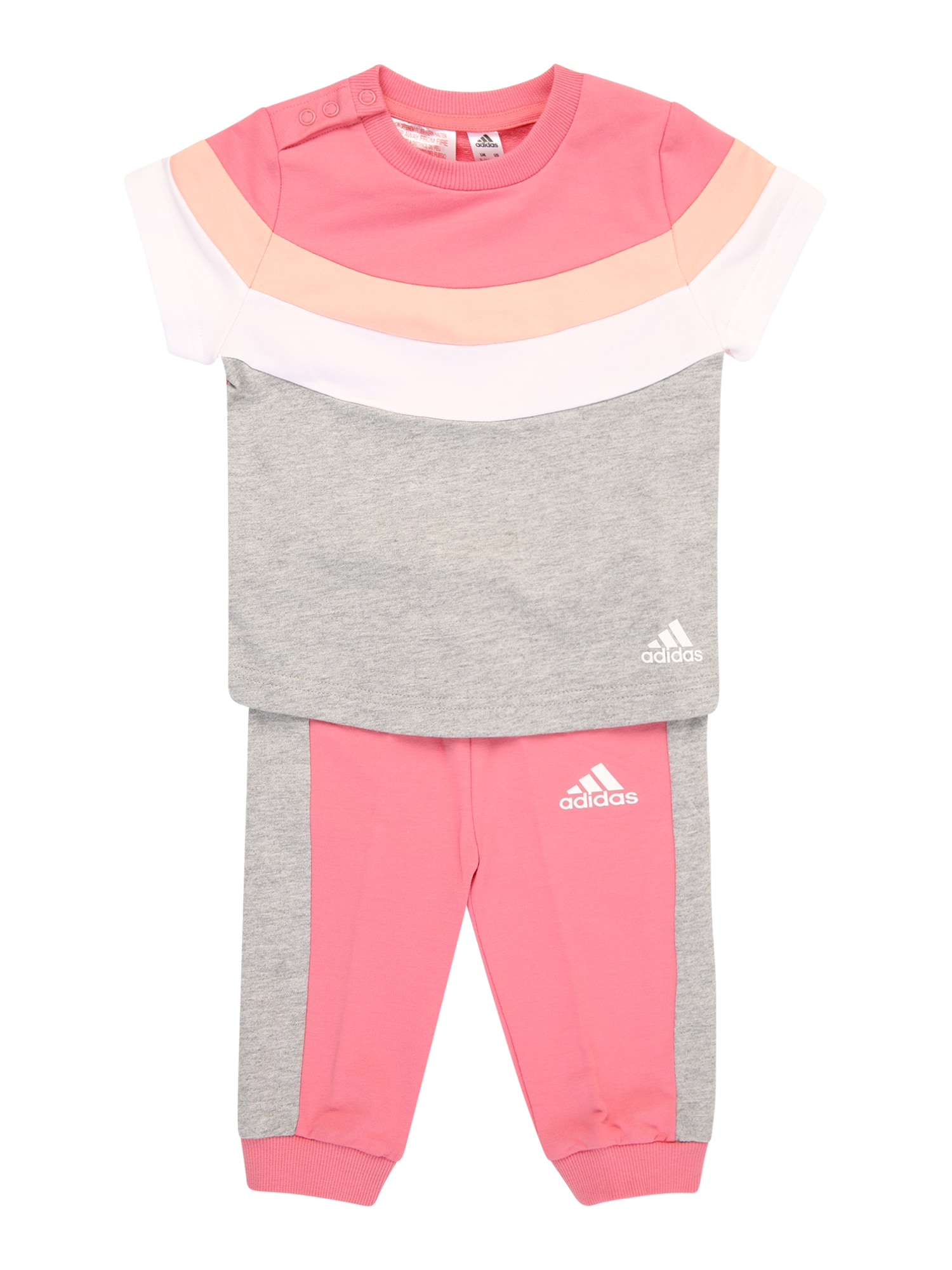ADIDAS PERFORMANCE Treniruočių kostiumas margai pilka / ryškiai rožinė spalva / balta / persikų spalva