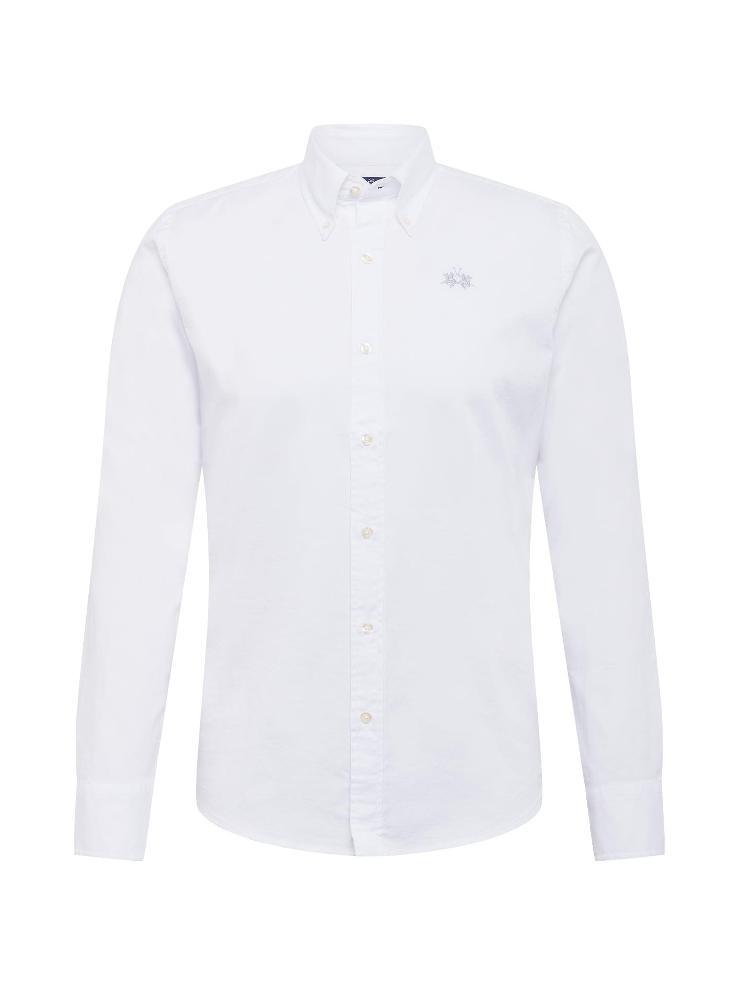 La Martina Dalykinio stiliaus marškiniai balta / sidabrinė