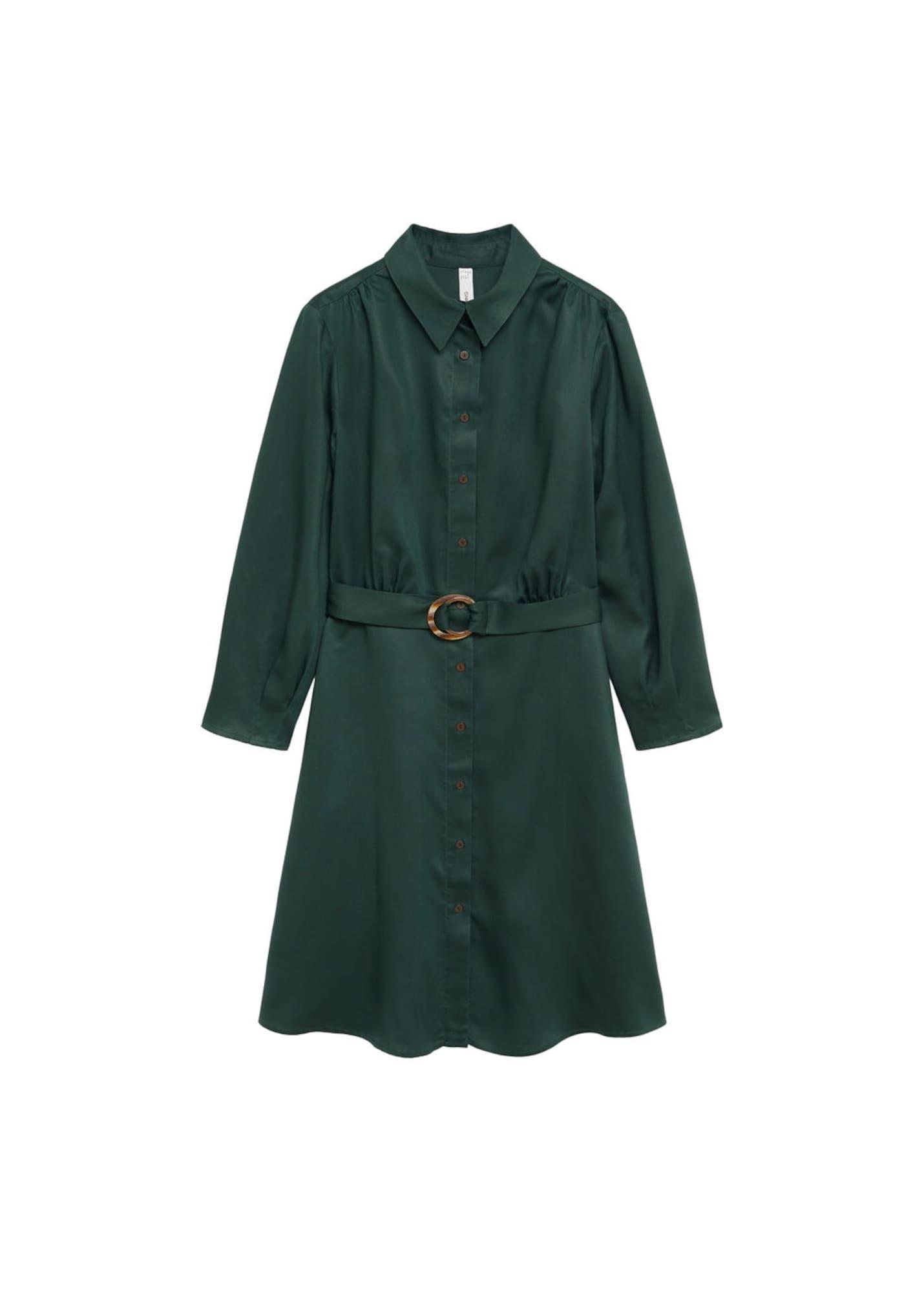 MANGO Košilové šaty 'Cros'  tmavě zelená