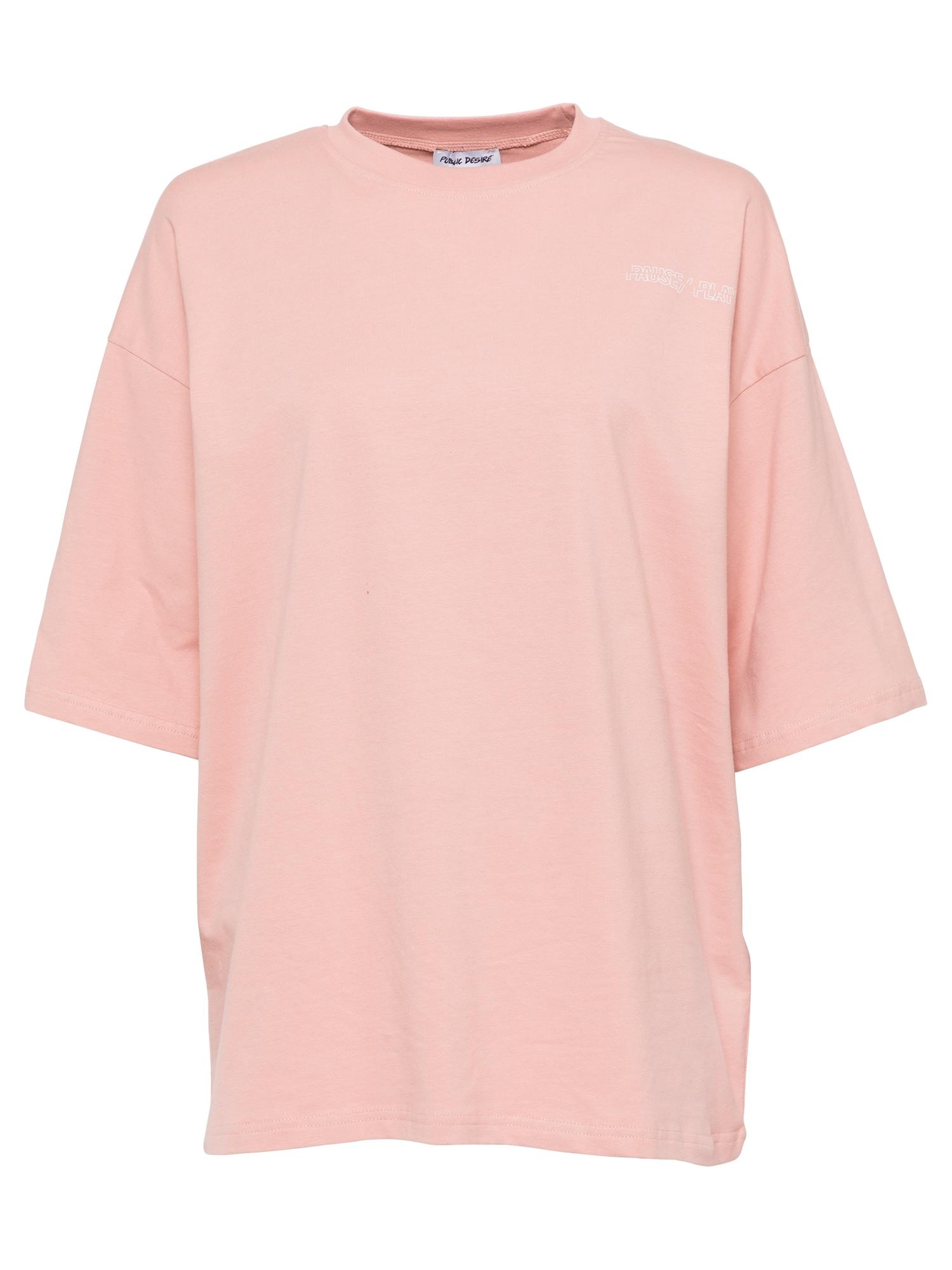 Public Desire Laisvi marškinėliai rožių spalva / balta / pilka