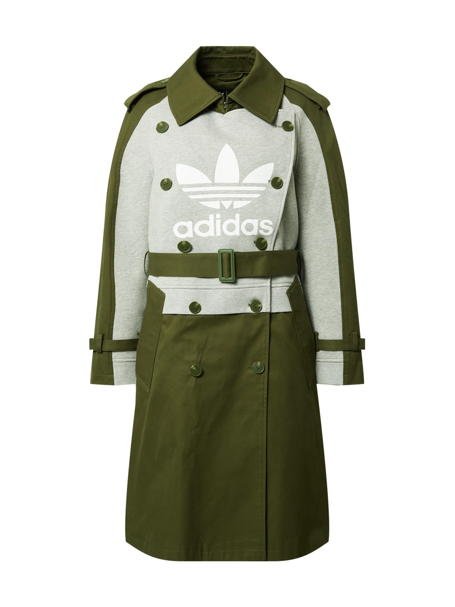 ADIDAS ORIGINALS Demisezoninis paltas alyvuogių spalva / margai pilka / balta