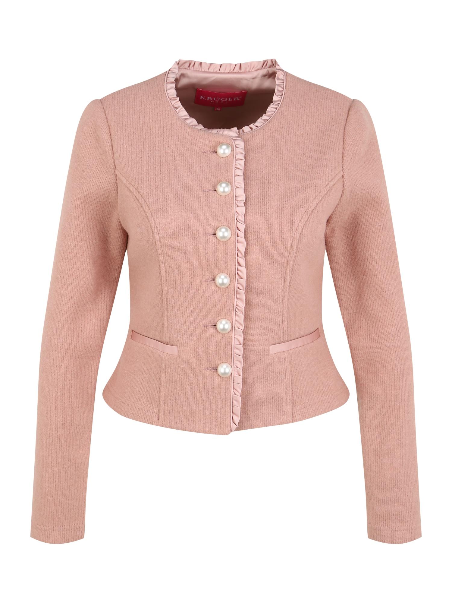 Krüger Madl Tirolietiško stiliaus švarkas ryškiai rožinė spalva