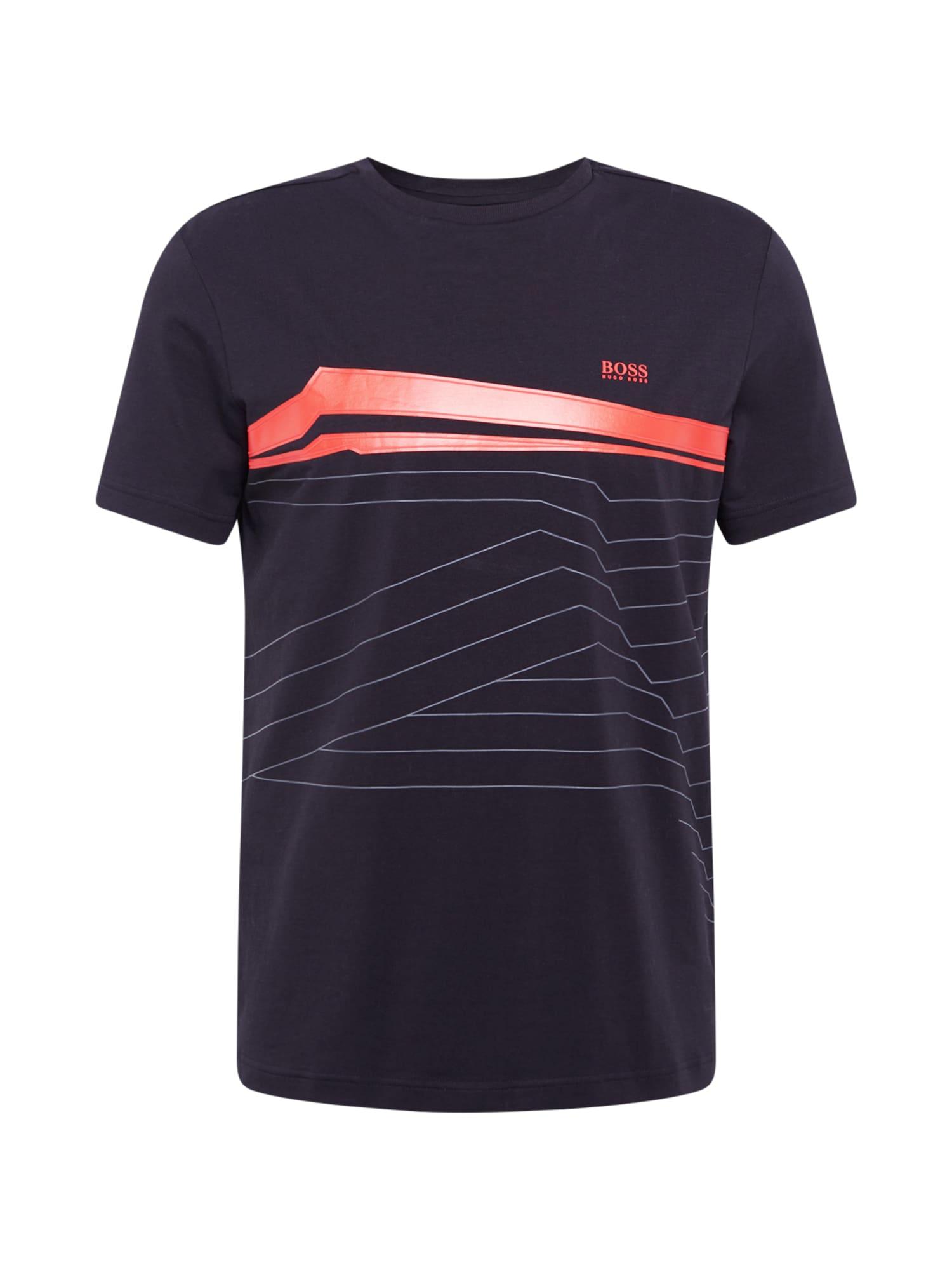 BOSS ATHLEISURE Marškinėliai juoda / raudona / nakties mėlyna