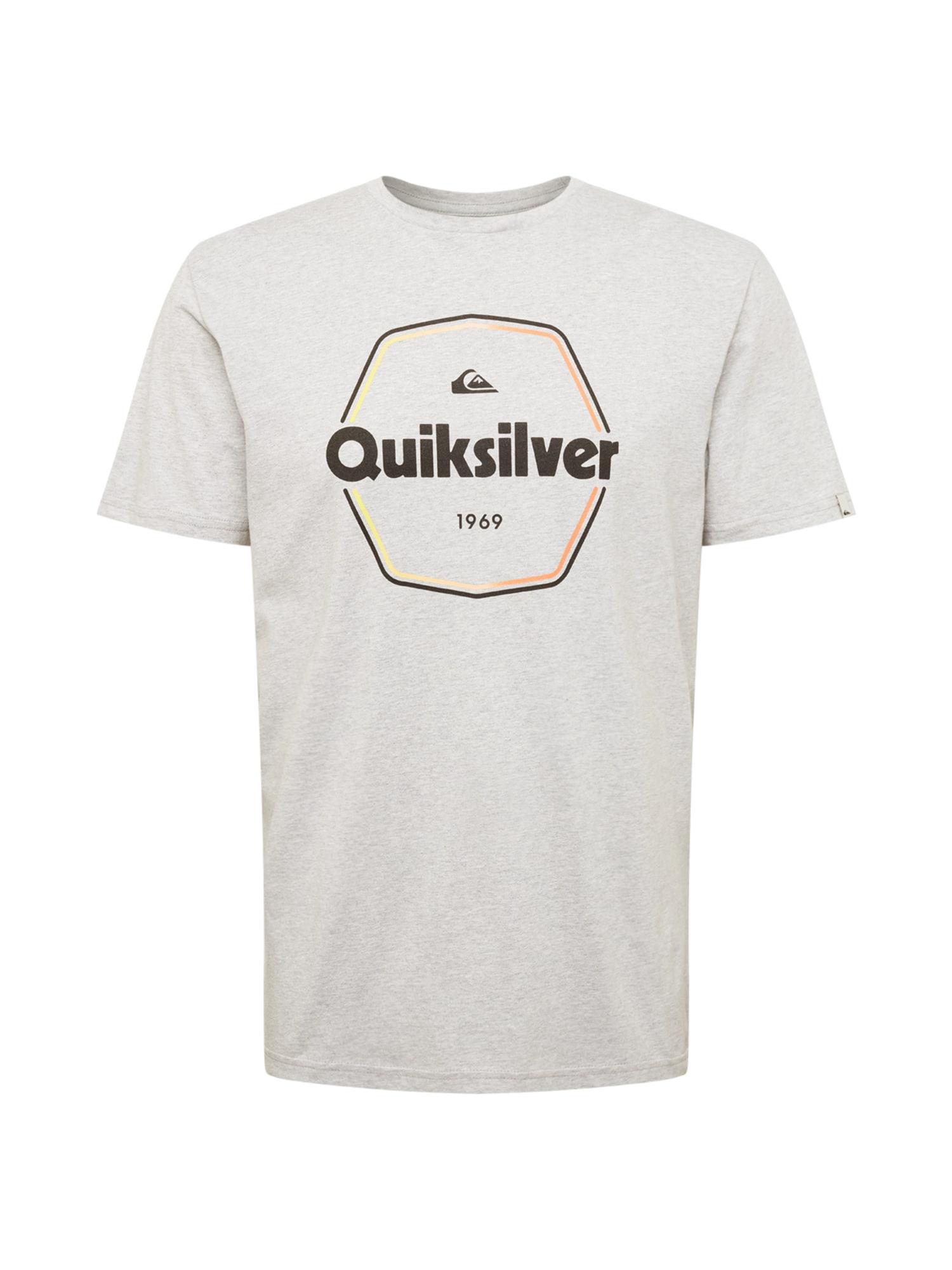 QUIKSILVER Sportiniai marškinėliai margai pilka / juoda / oranžinė / geltona