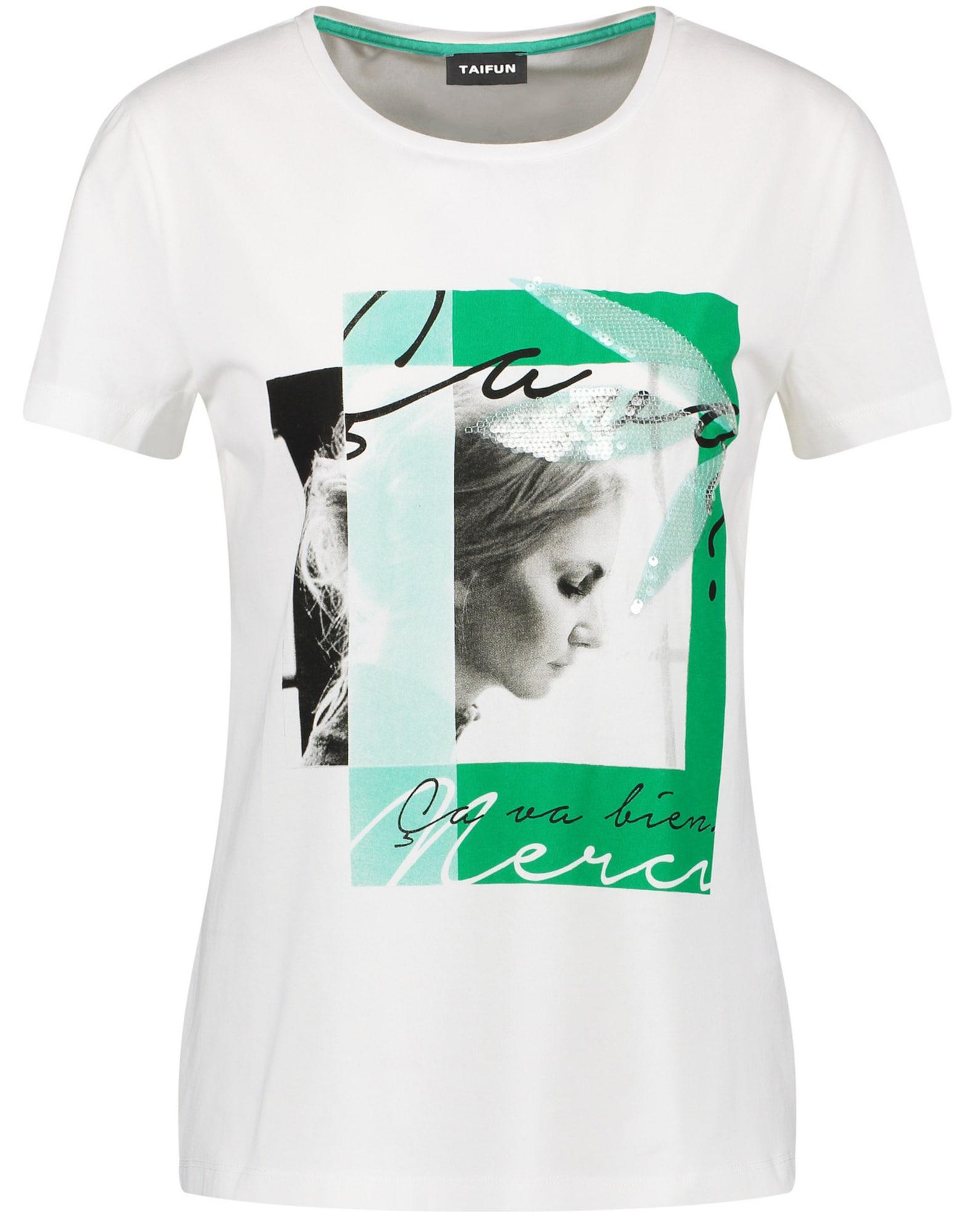 TAIFUN Marškinėliai balta / nefrito spalva / pilka