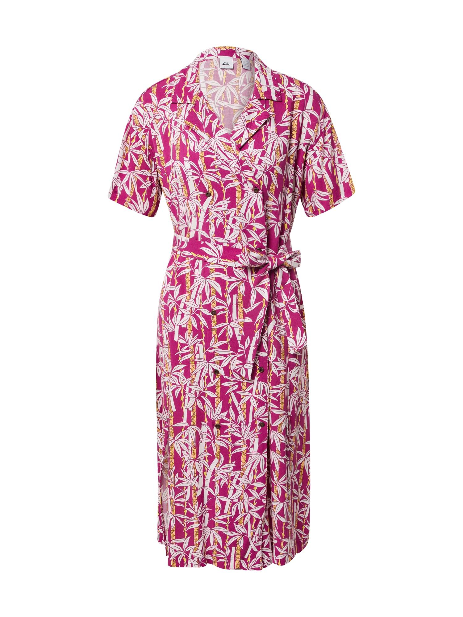 QUIKSILVER Palaidinės tipo suknelė tamsiai rožinė / balta / geltona