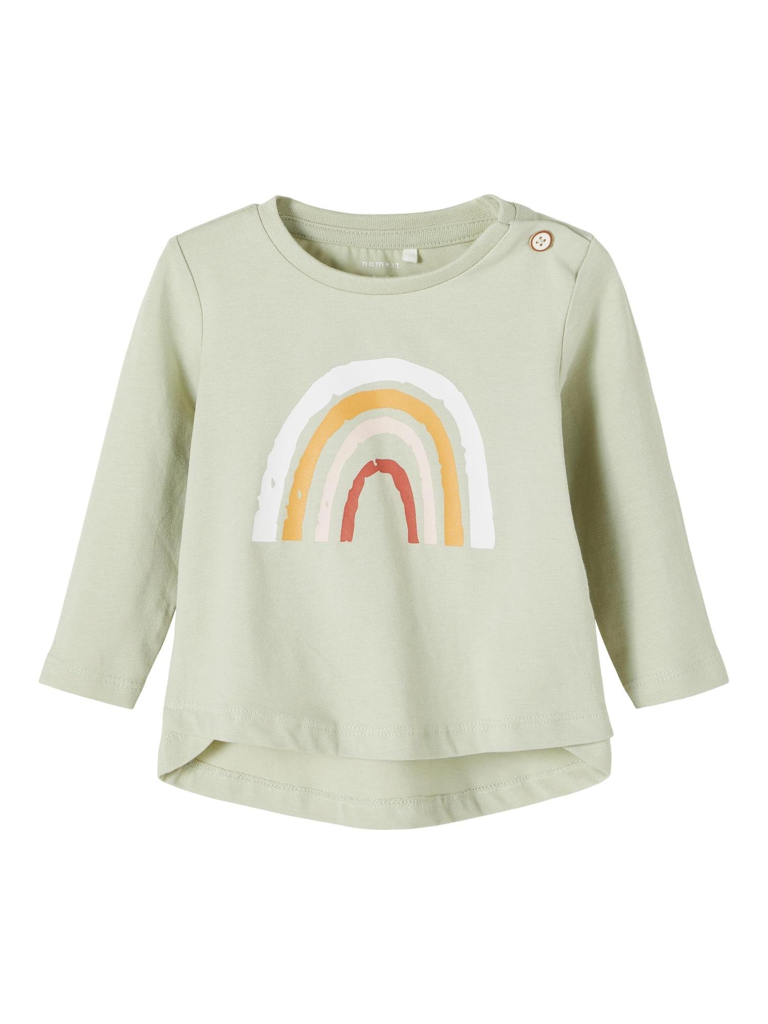 NAME IT Marškinėliai 'Daisi' pastelinė žalia / balta / oranžinė / tamsiai raudona / pudros spalva