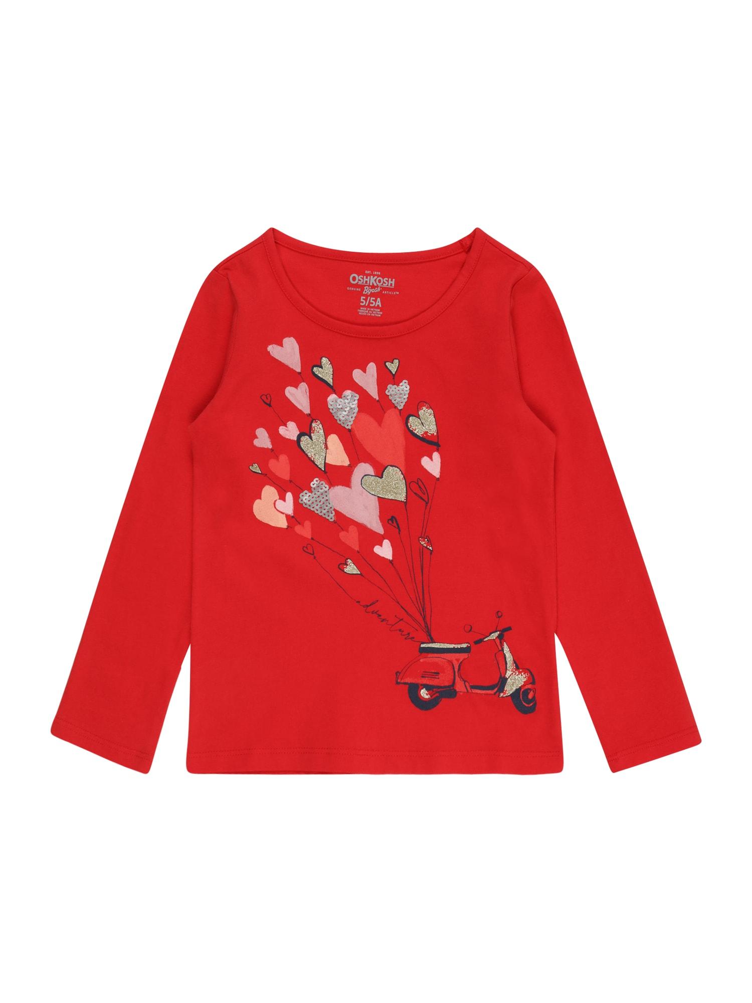 OshKosh Marškinėliai raudona / kobalto mėlyna / šviesiai rožinė / bronzinė