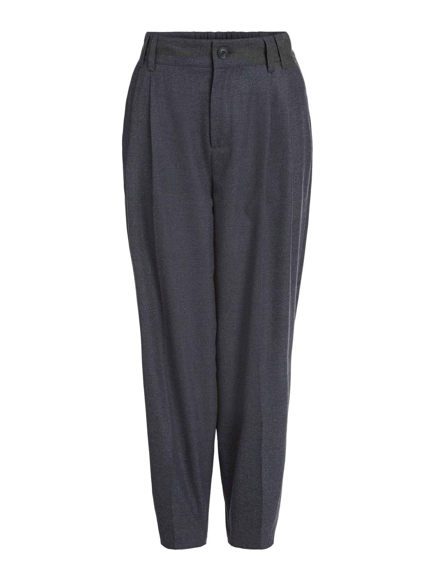 SET Kalhoty se sklady v pase  tmavě šedá