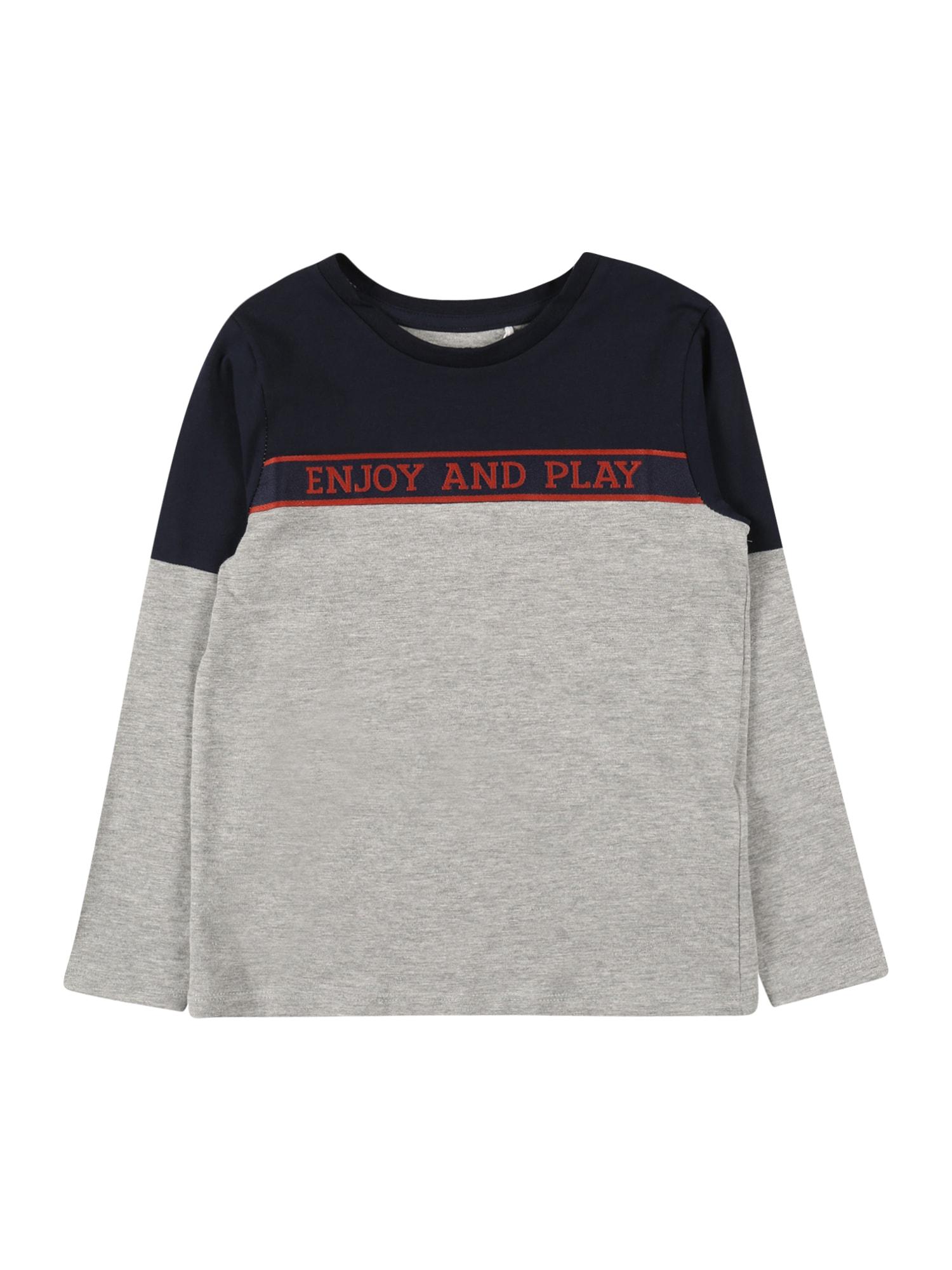 NAME IT Tričko 'NAPLAY'  šedý melír / červená / námořnická modř