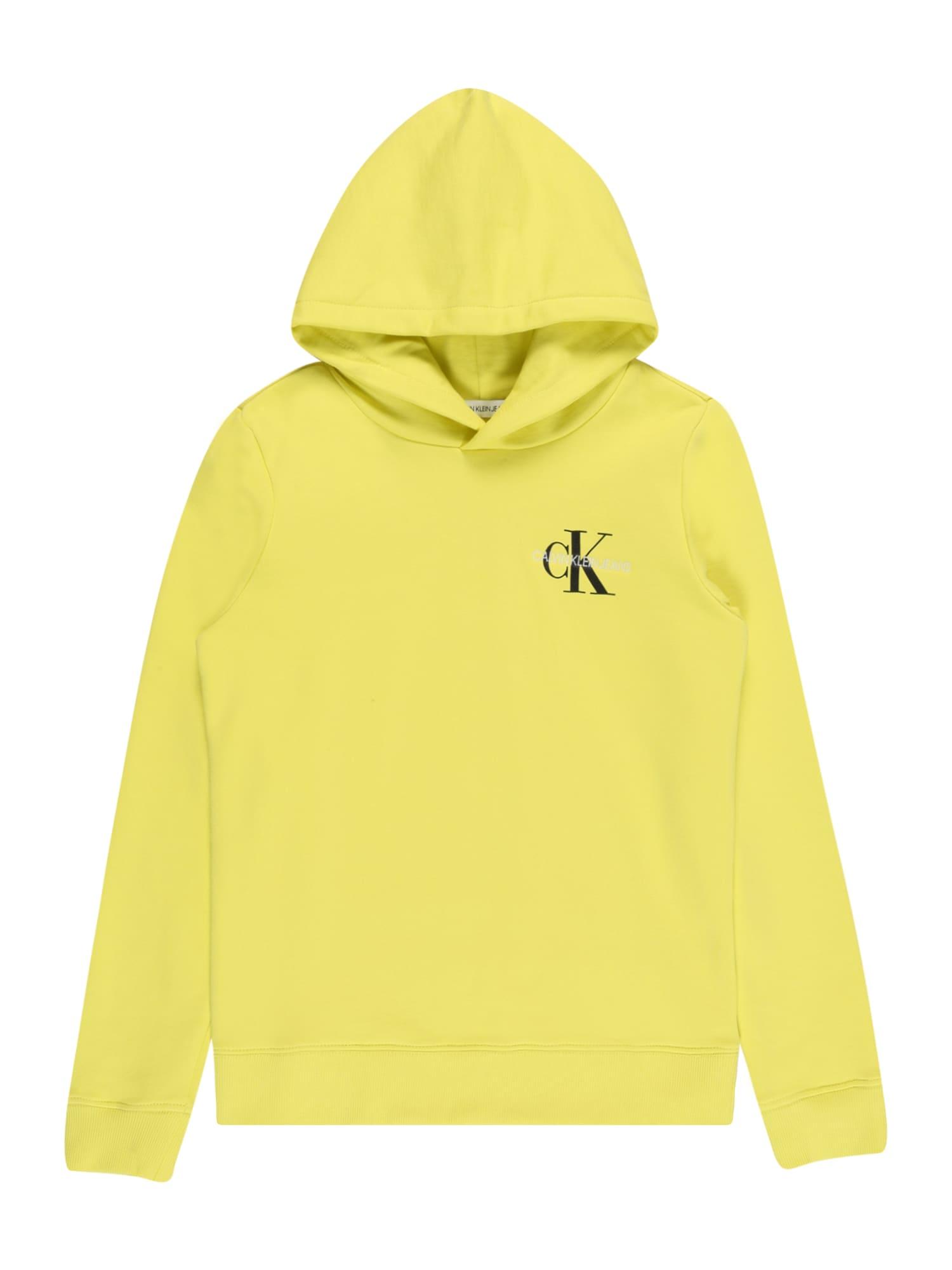 Calvin Klein Jeans Megztinis be užsegimo geltona / balta / juoda