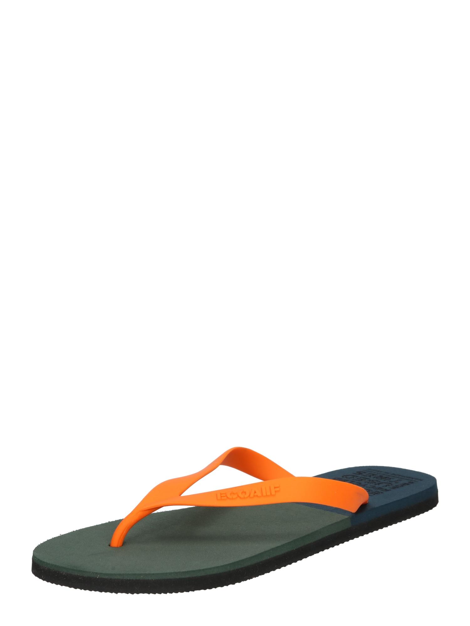 ECOALF Šlepetės per pirštą tamsiai žalia / oranžinė