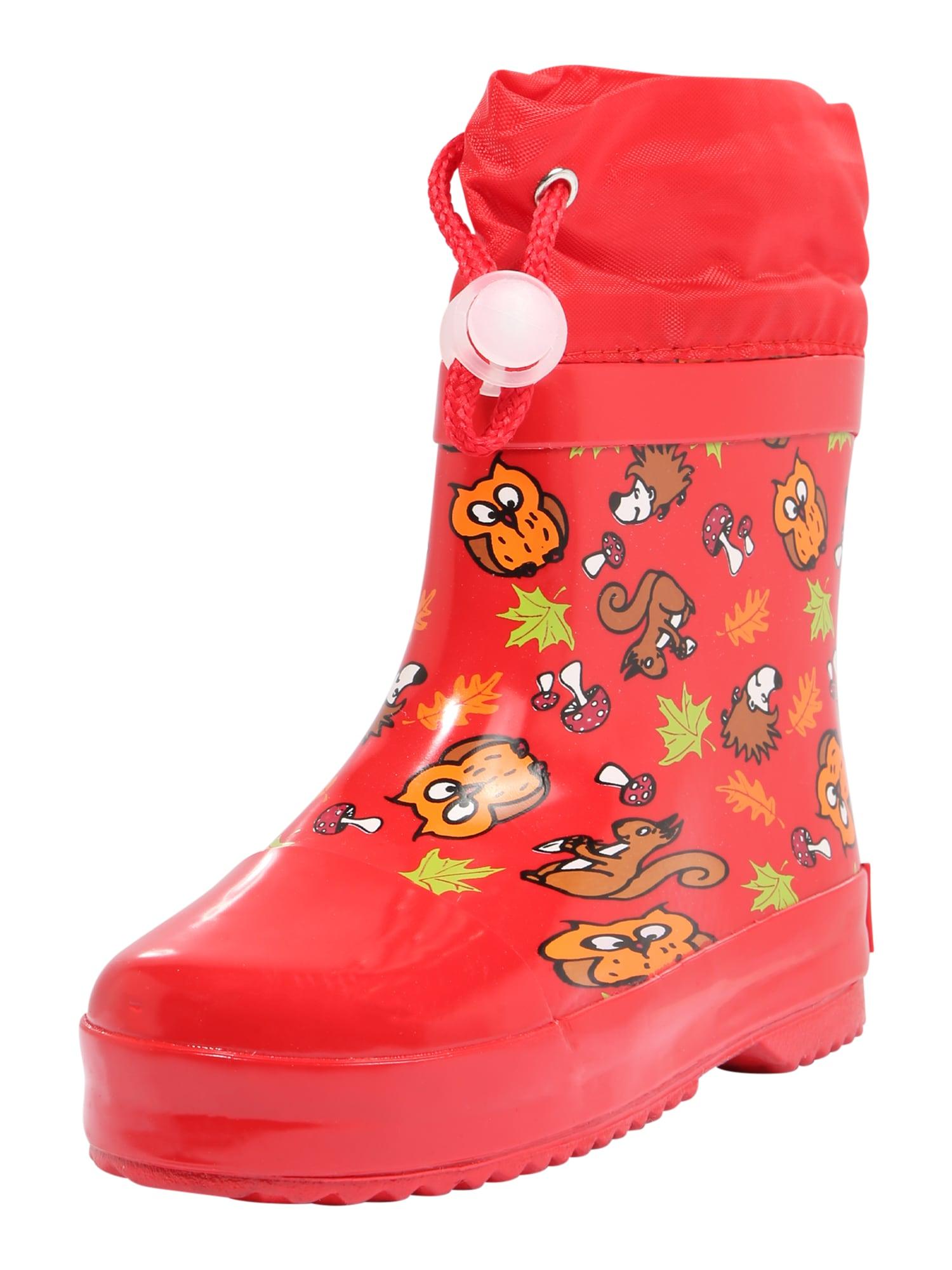 PLAYSHOES Guminiai batai raudona / ruda / aukso geltonumo spalva / oranžinė / šviesiai žalia