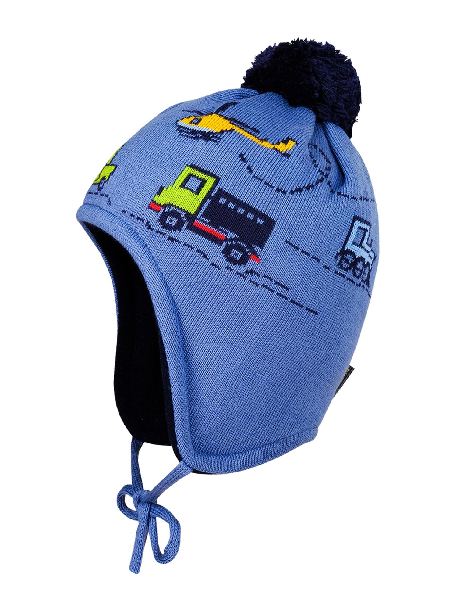 MAXIMO Megzta kepurė tamsiai mėlyna / mėlyna dūmų spalva / geltona / šviesiai žalia