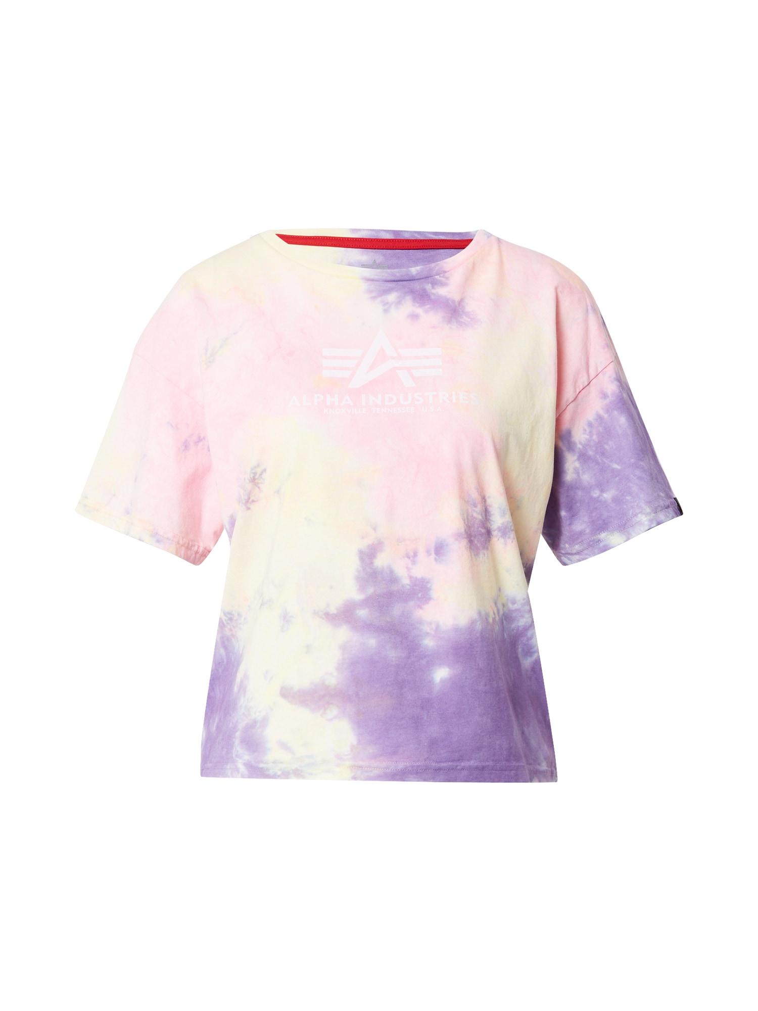 ALPHA INDUSTRIES Marškinėliai pastelinė violetinė / pastelinė rožinė / balta